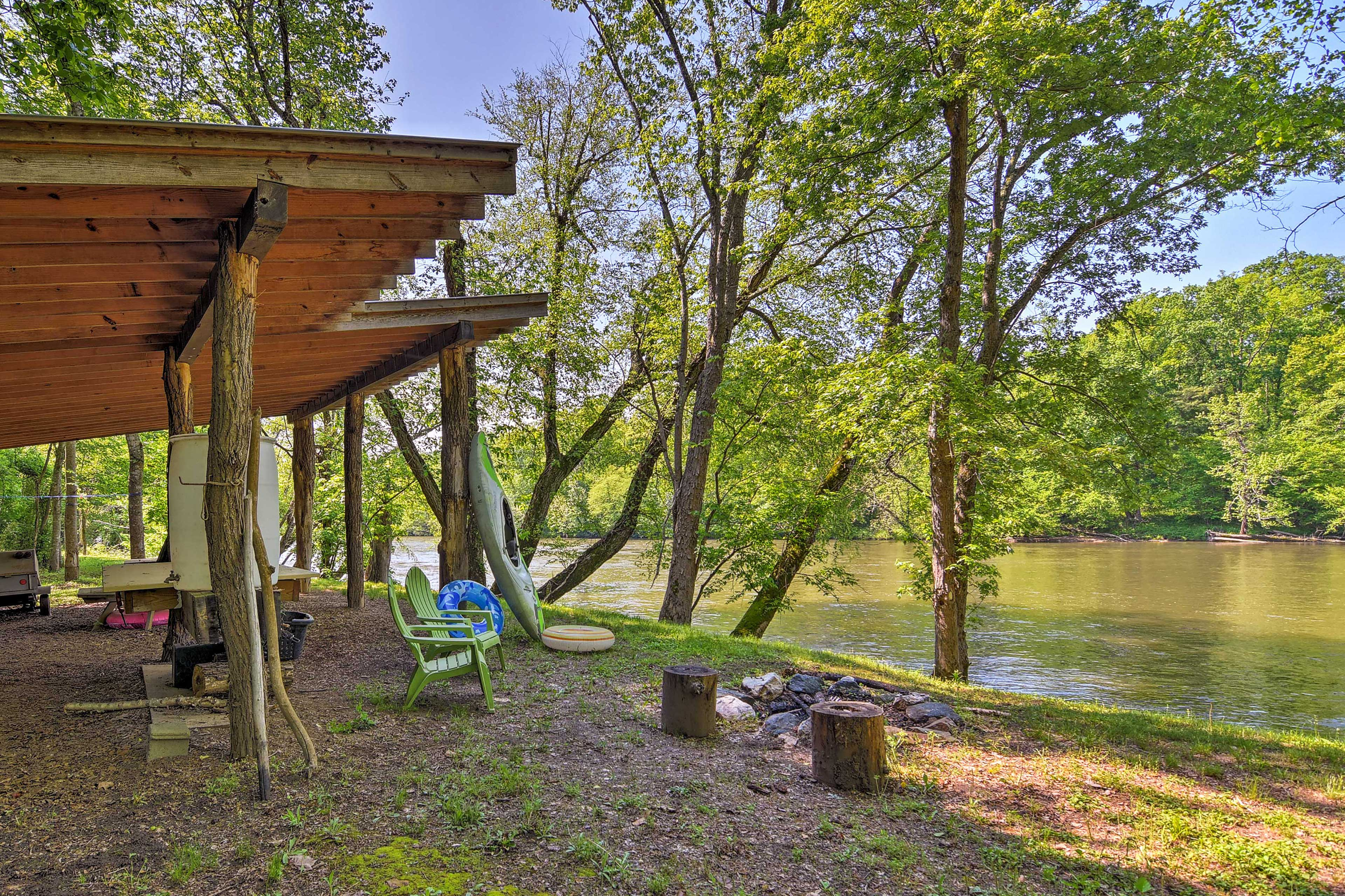 Float in and enjoy this shared 5-acre recreation area on the French Broad River!