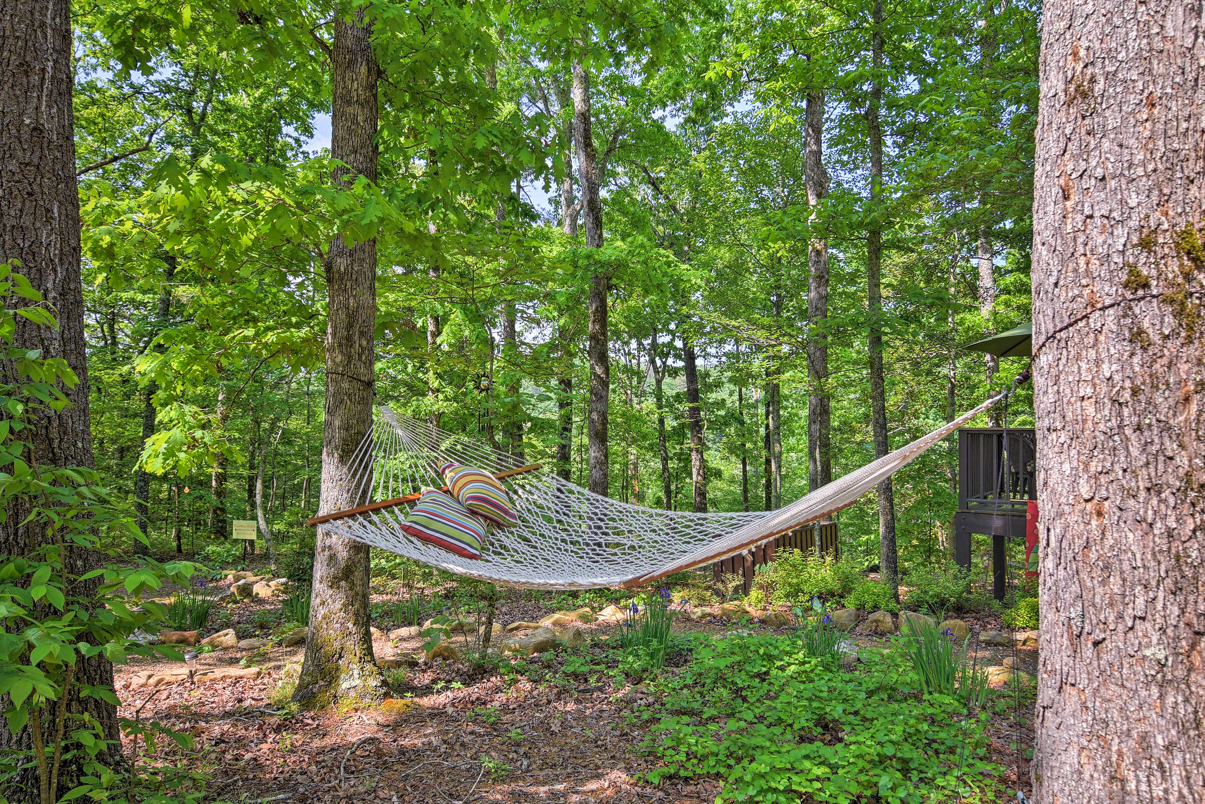 Relax on the comfortable hammock and drift off into dreamland.