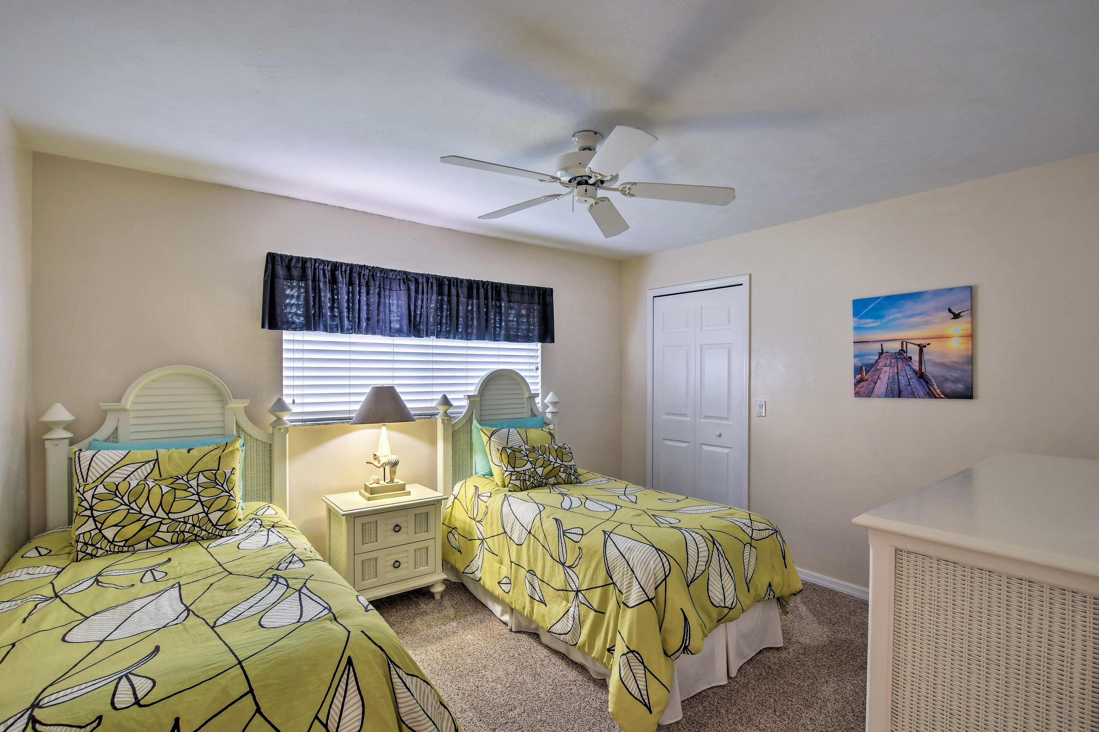 You don't have to be twins to sleep in this cozy room with 2 twin-sized beds.