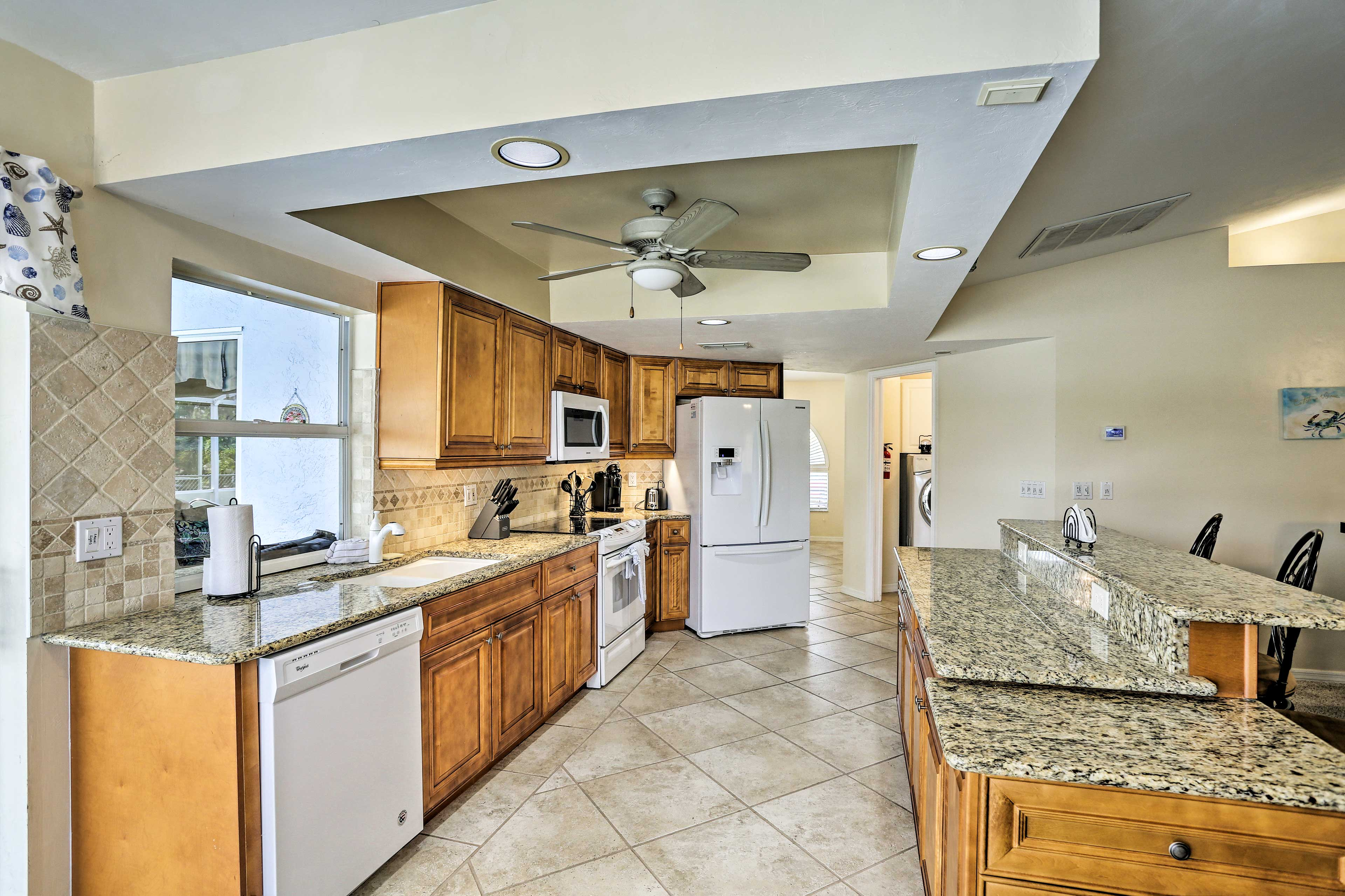 Prepare meals for your crew in the fully equipped kitchen.