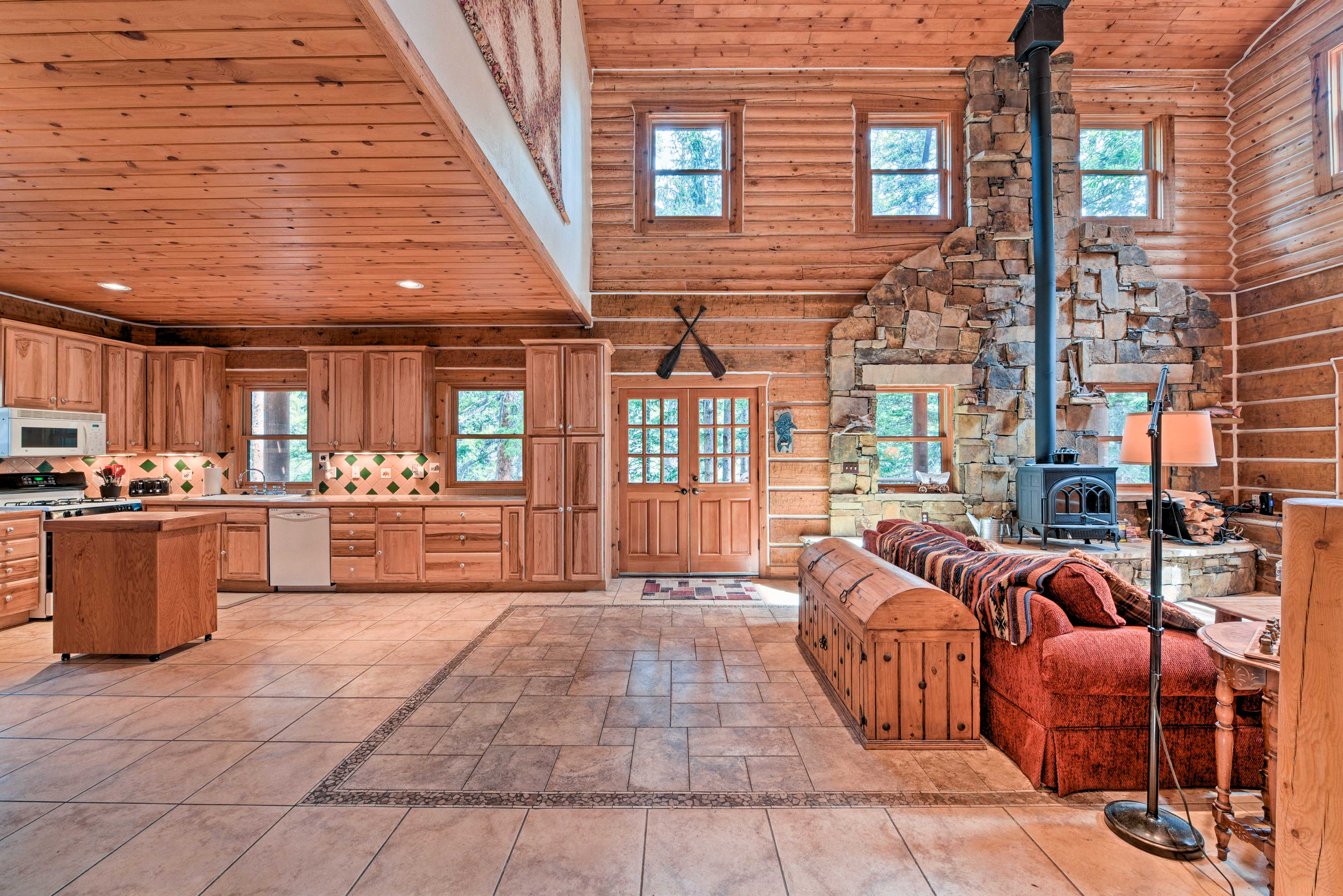 The sprawling 2,200-square-foot cabin boasts an open floor plan living area.