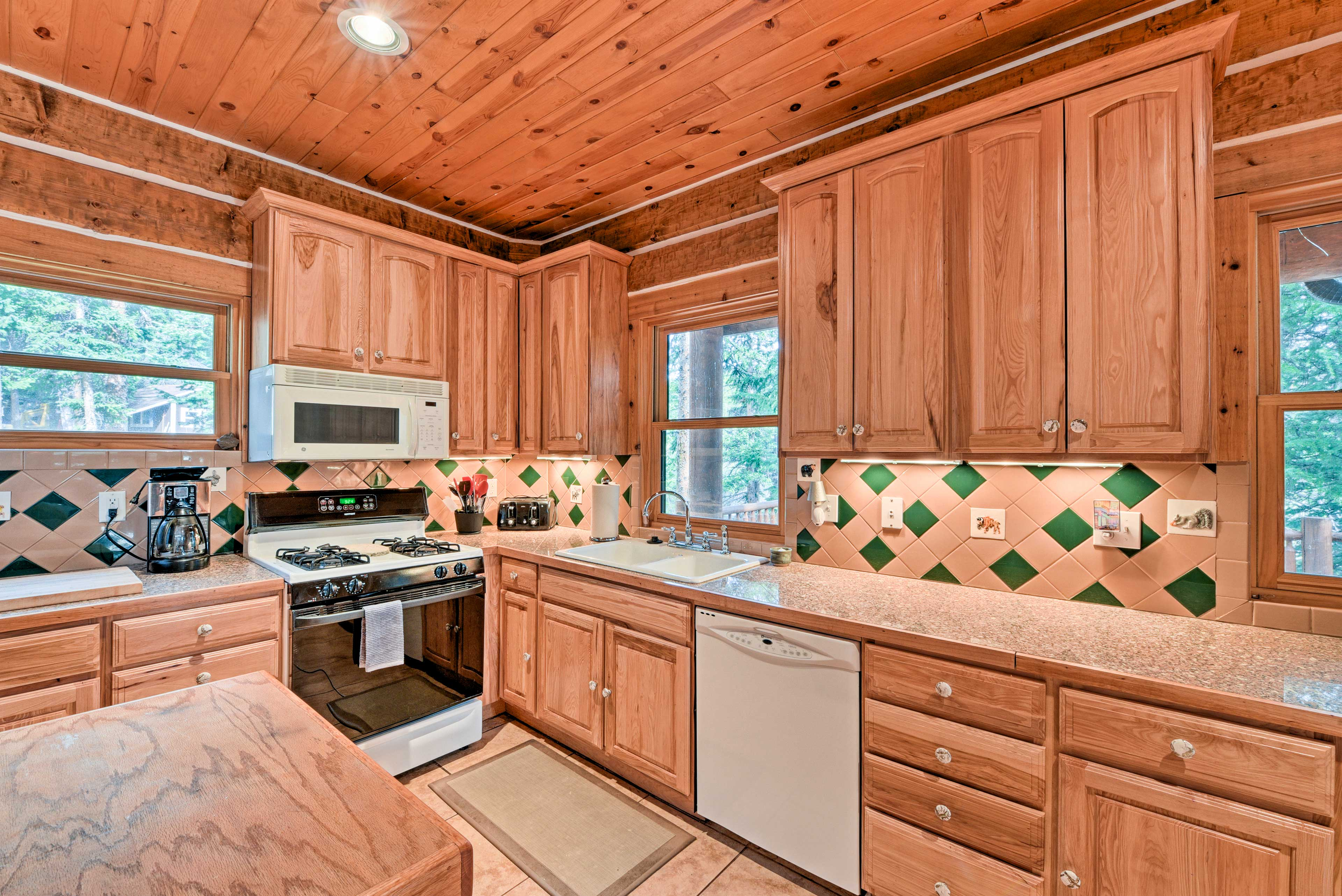 Prepare savory home-cooked meals in the spacious kitchen.