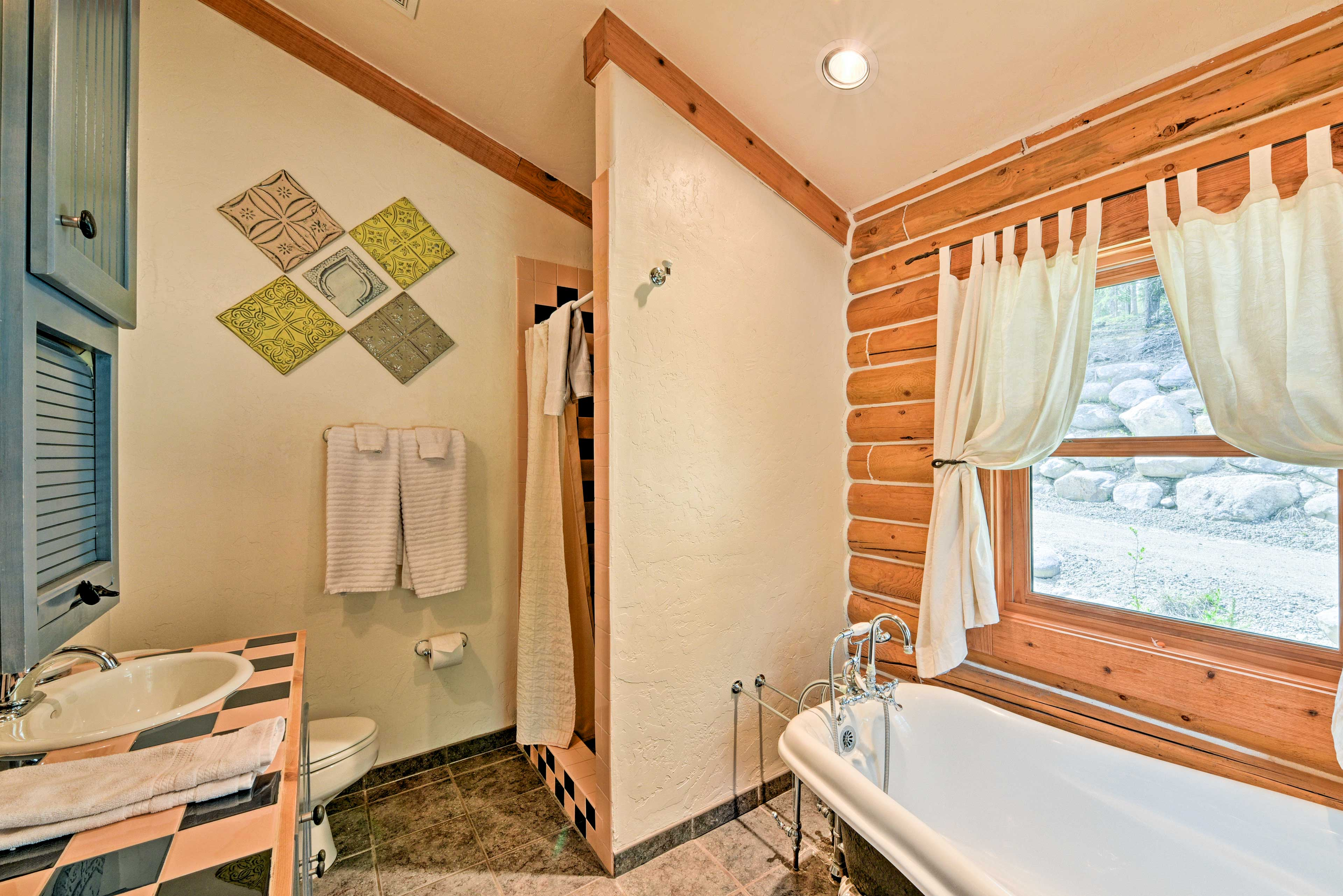 Choose between a bath or shower at the end of an active day.