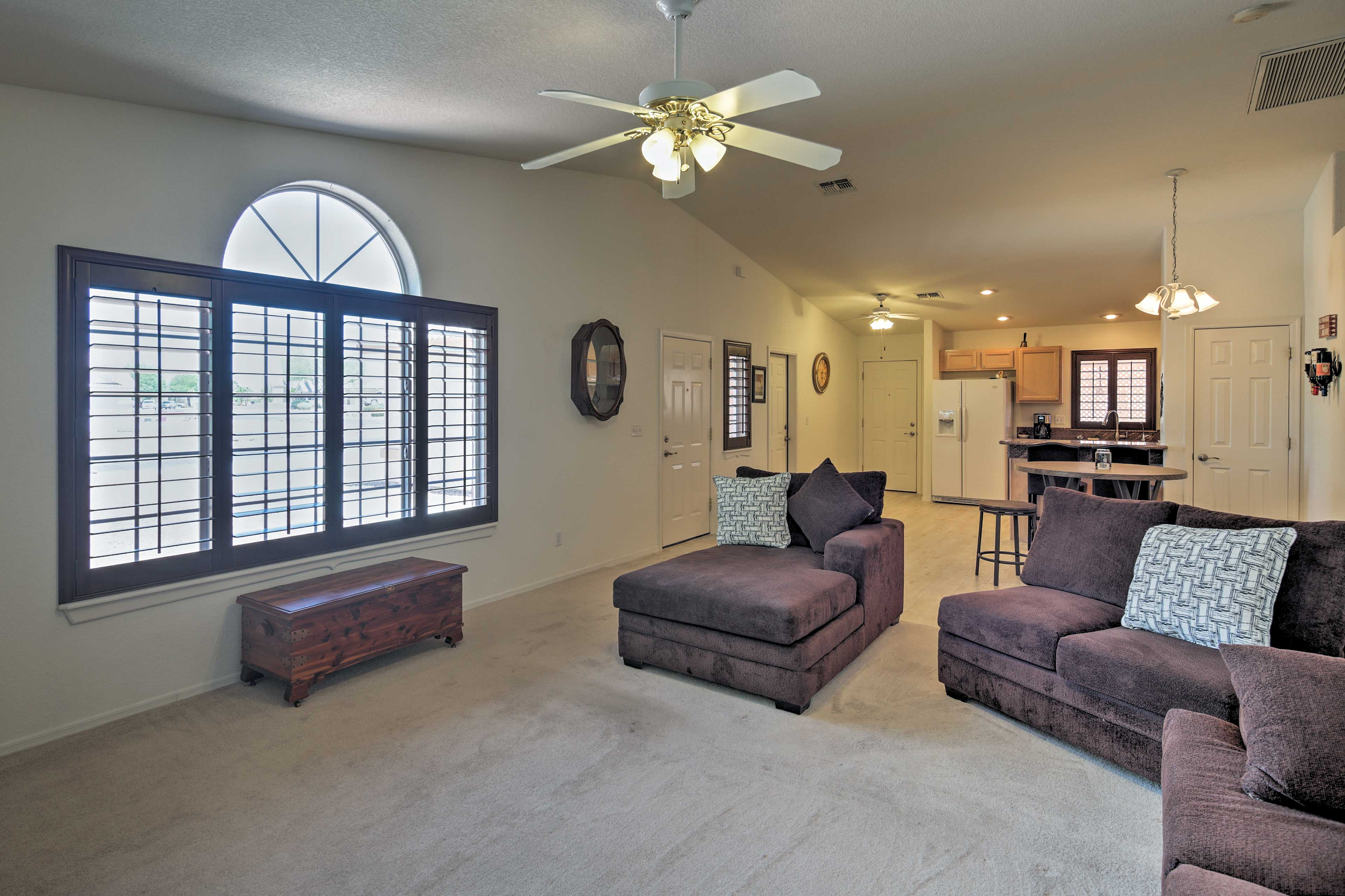 Find refuge from the heat in the spacious living area.
