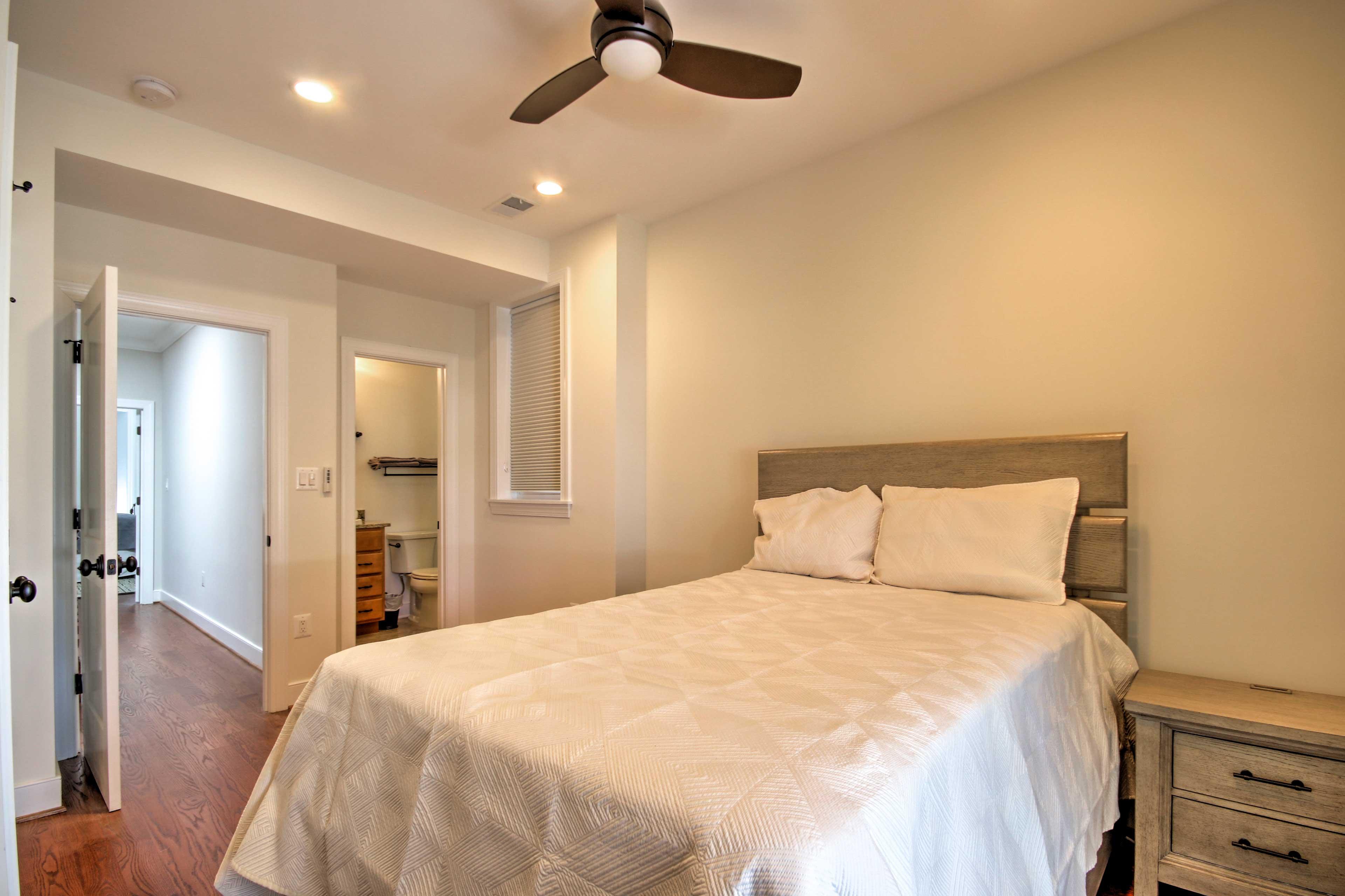 The second bedroom has a cozy full mattress.