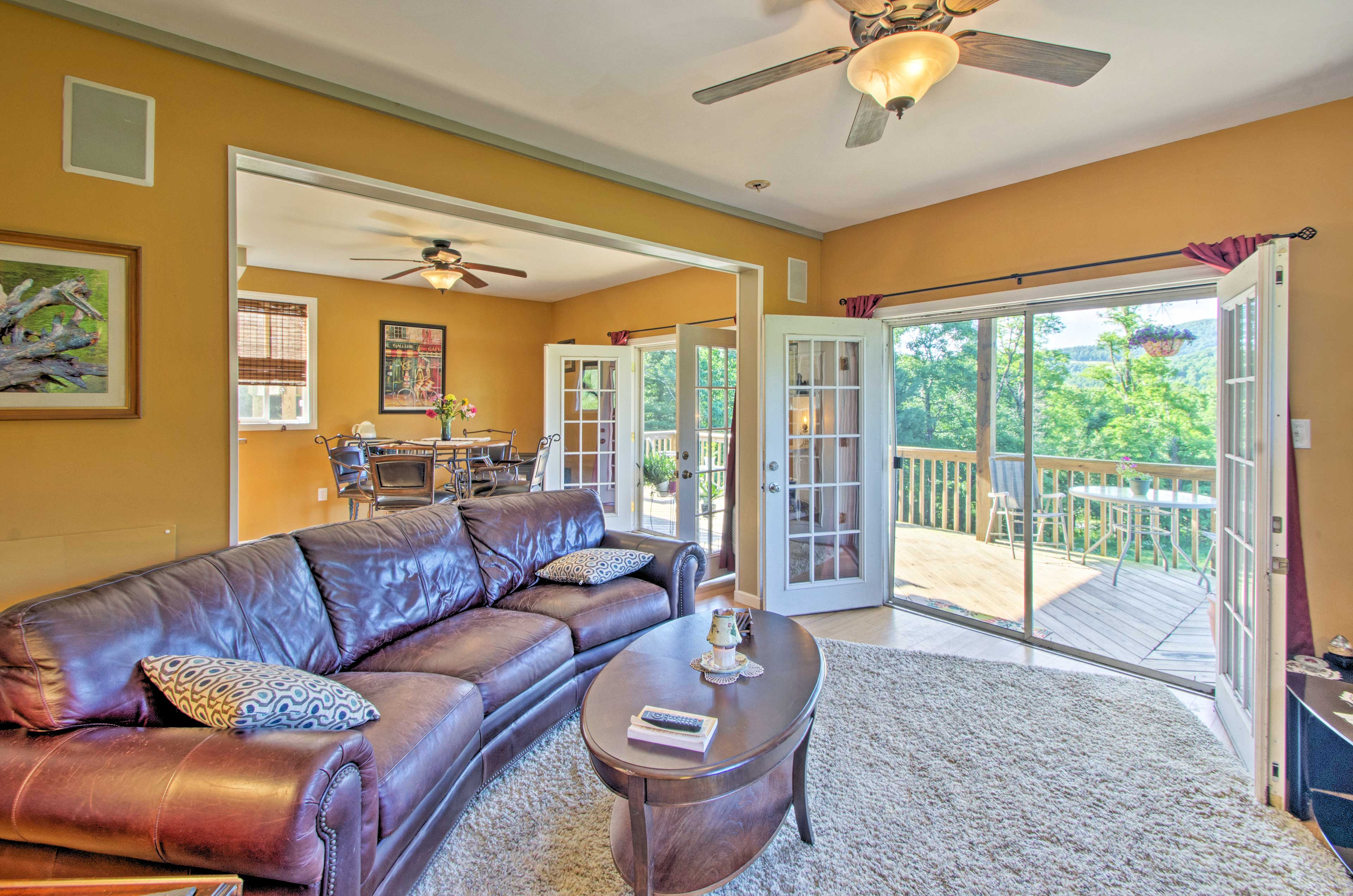 French doors lead you out to the deck.