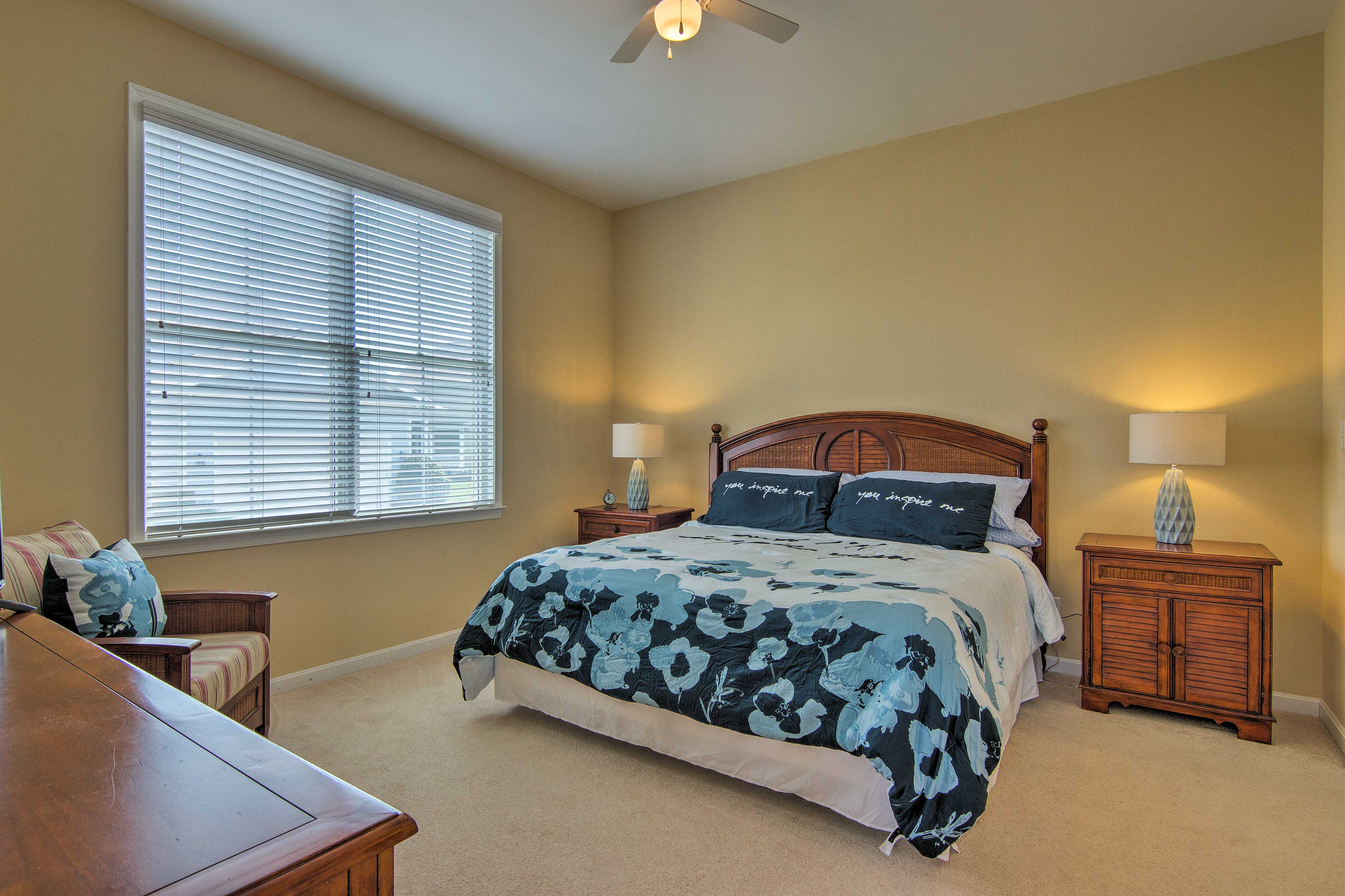Slumber peacefully in the cloud-like king bed in the master bedroom.