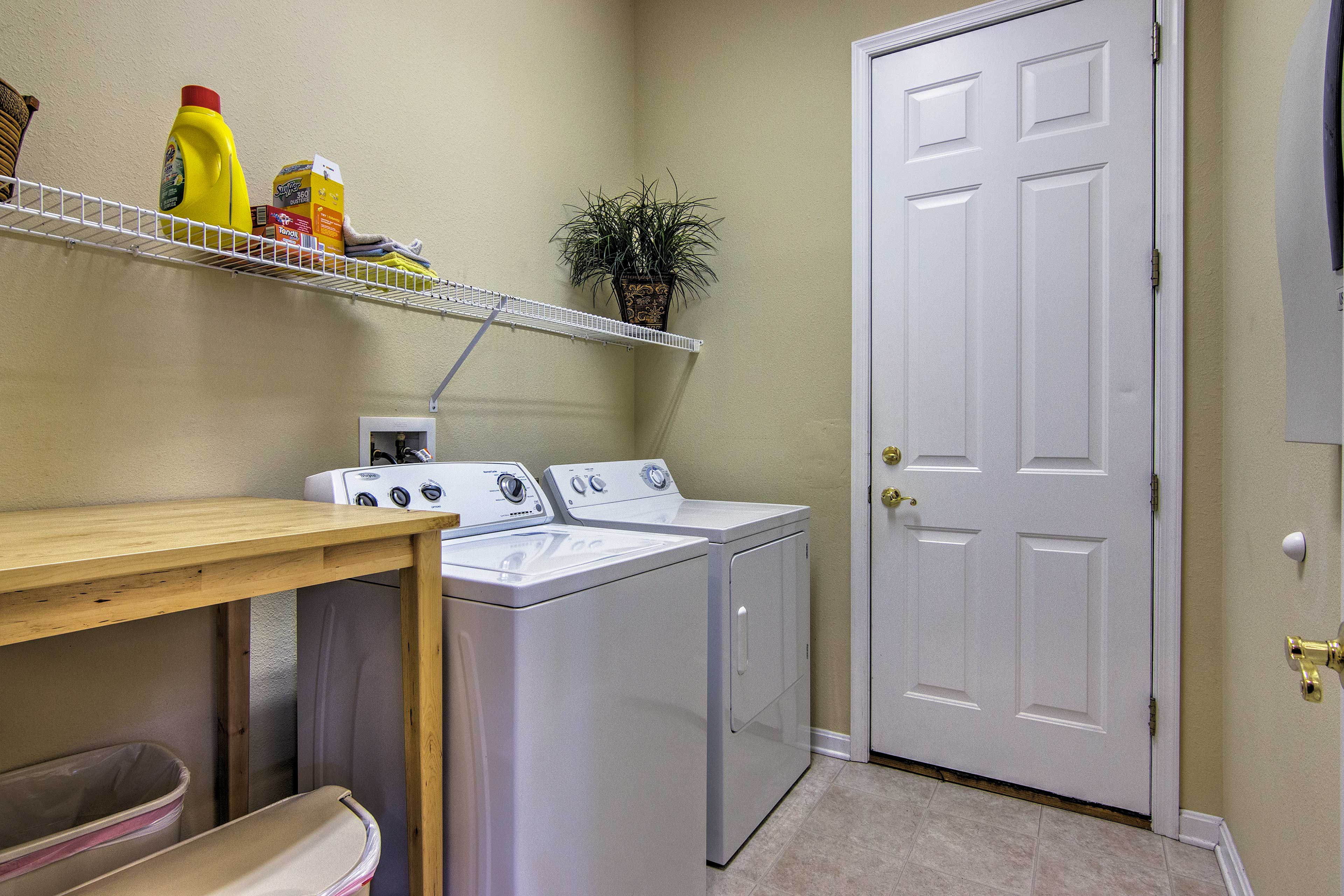 Keep your bathing suits and beach clothes clean with the washer and dryer.