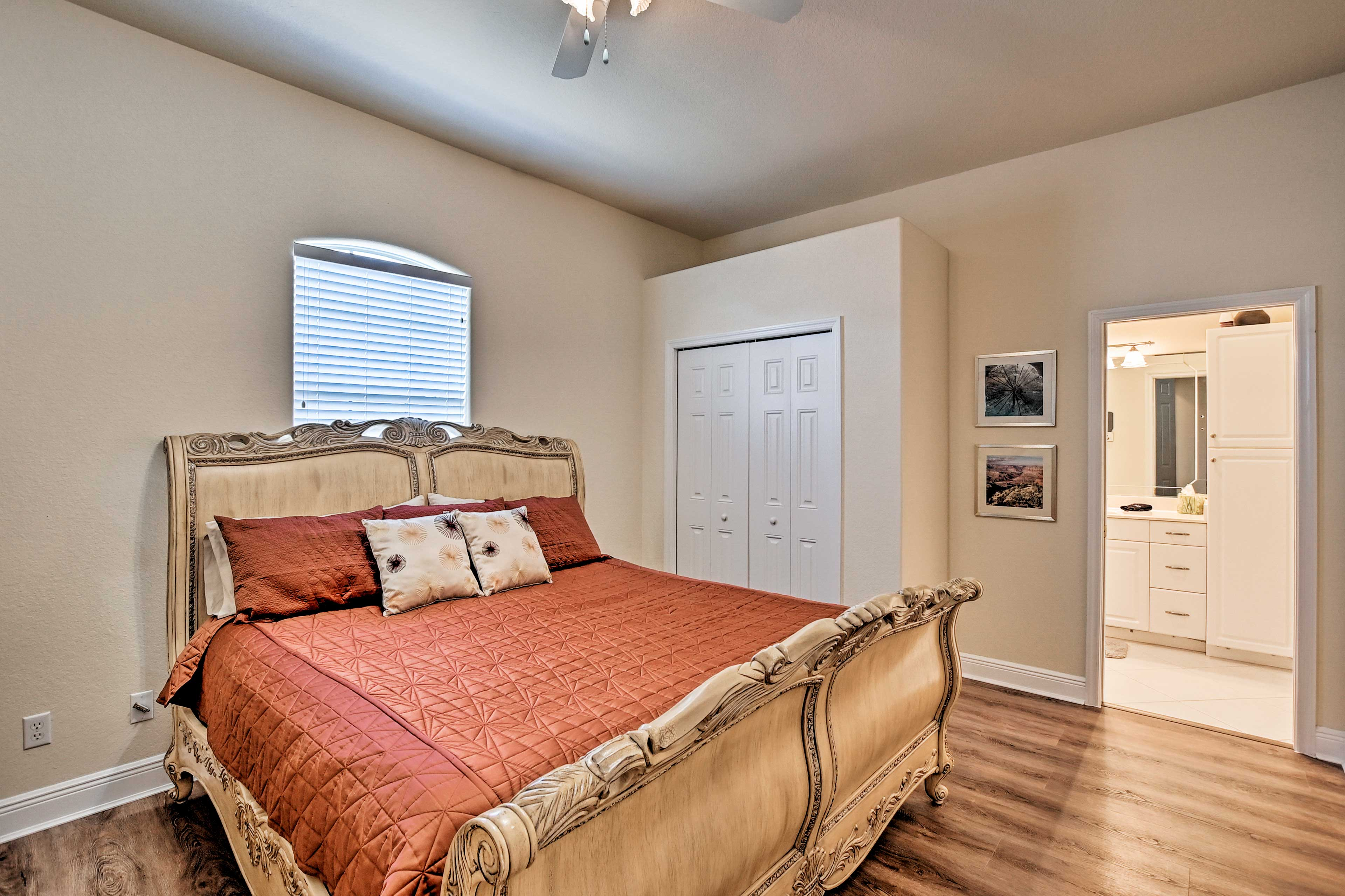 Climb under the covers of the king bed in the second bedroom.