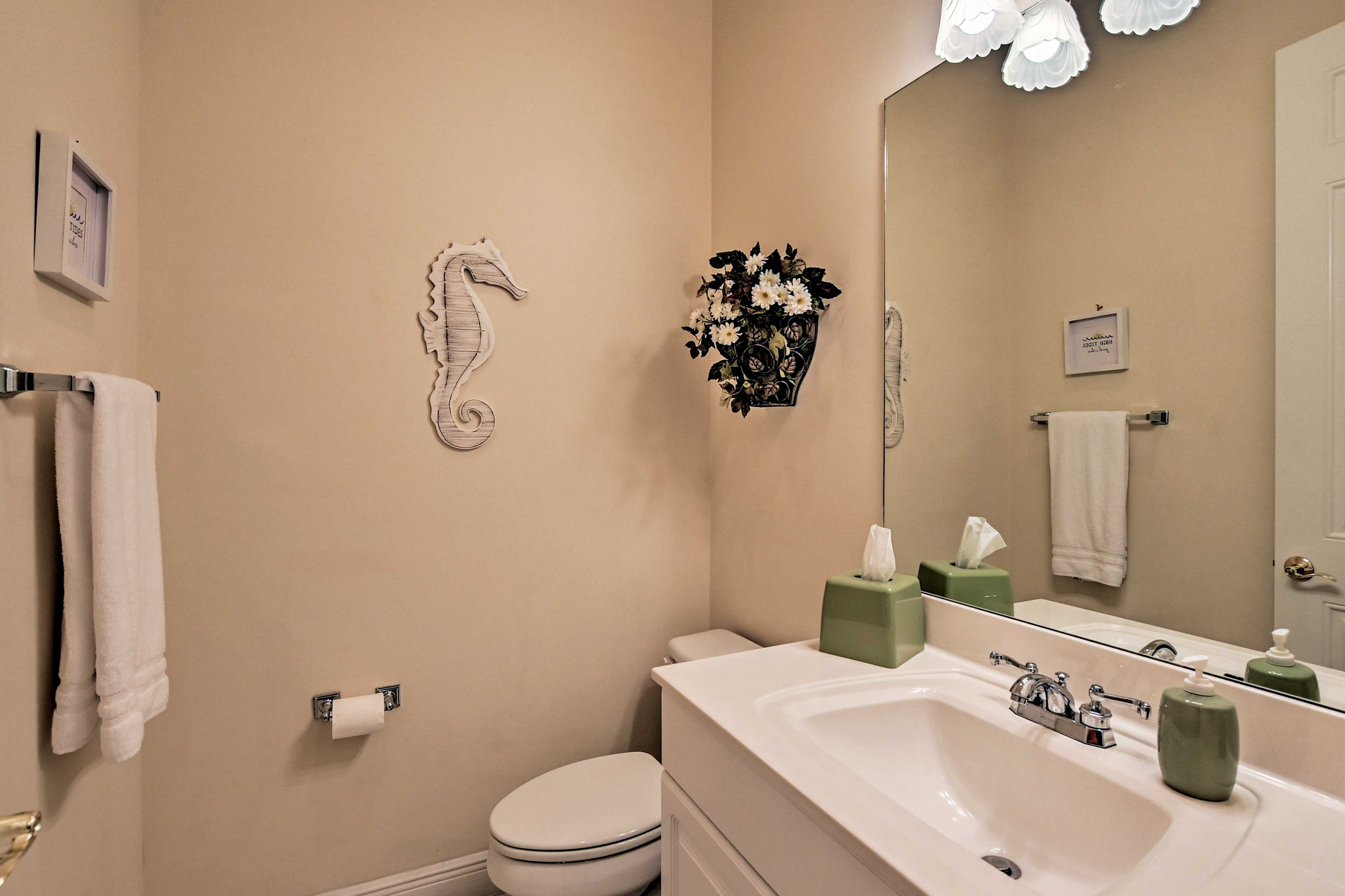 The half bath is sure to come in handy.