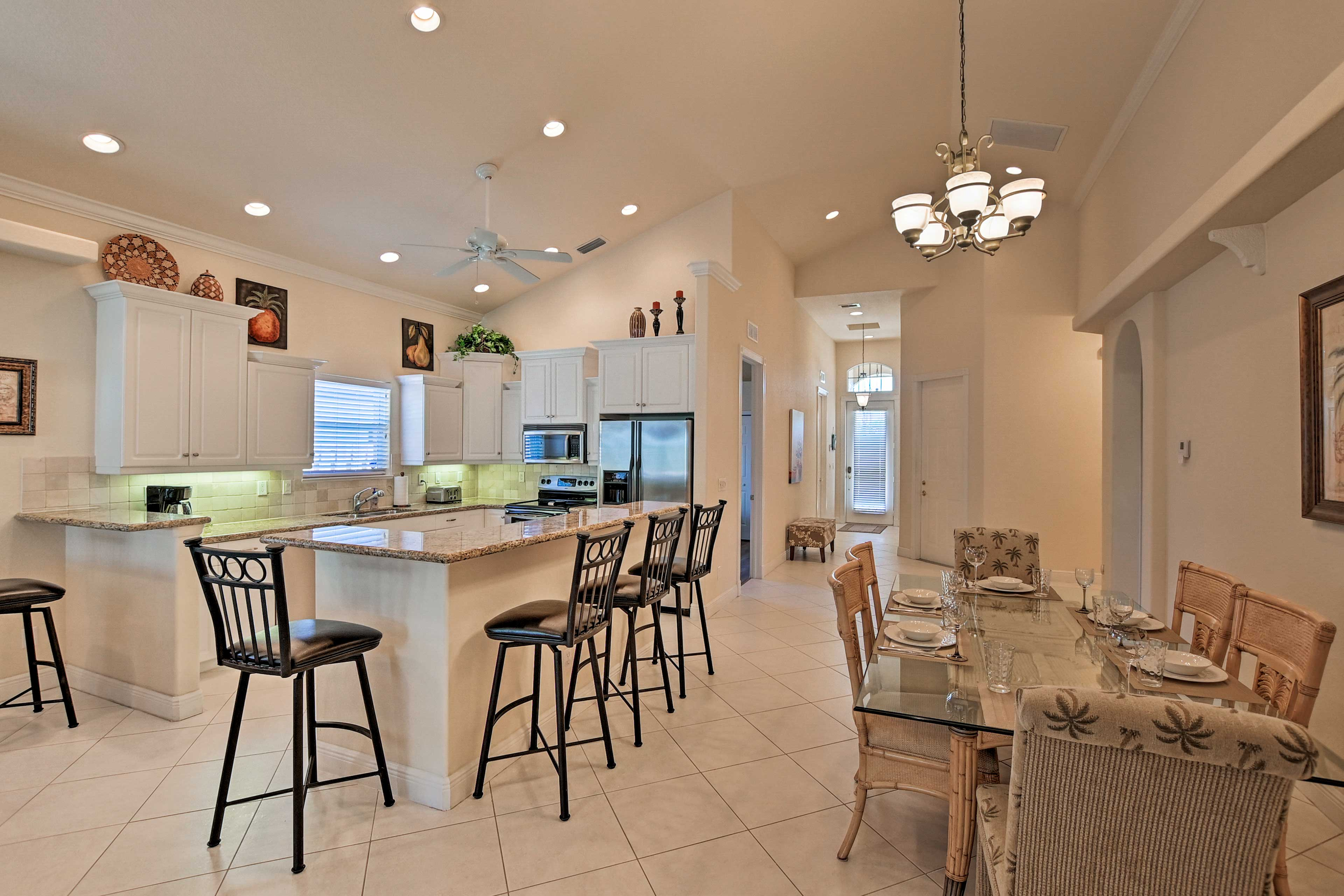 The kitchen and dining area are open to the living space.