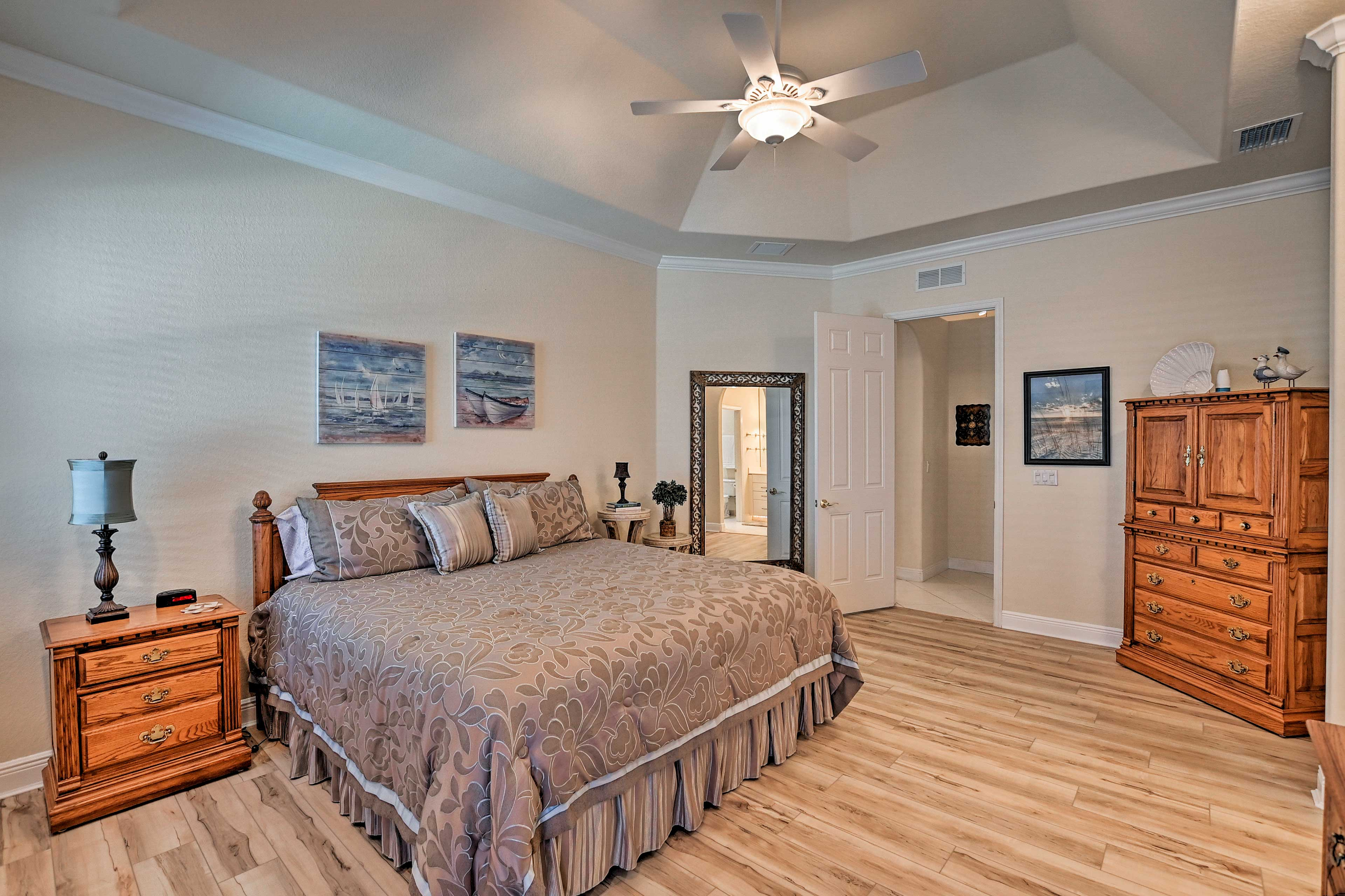 Rest your head on the Beautyrest king bed in the master bedroom.