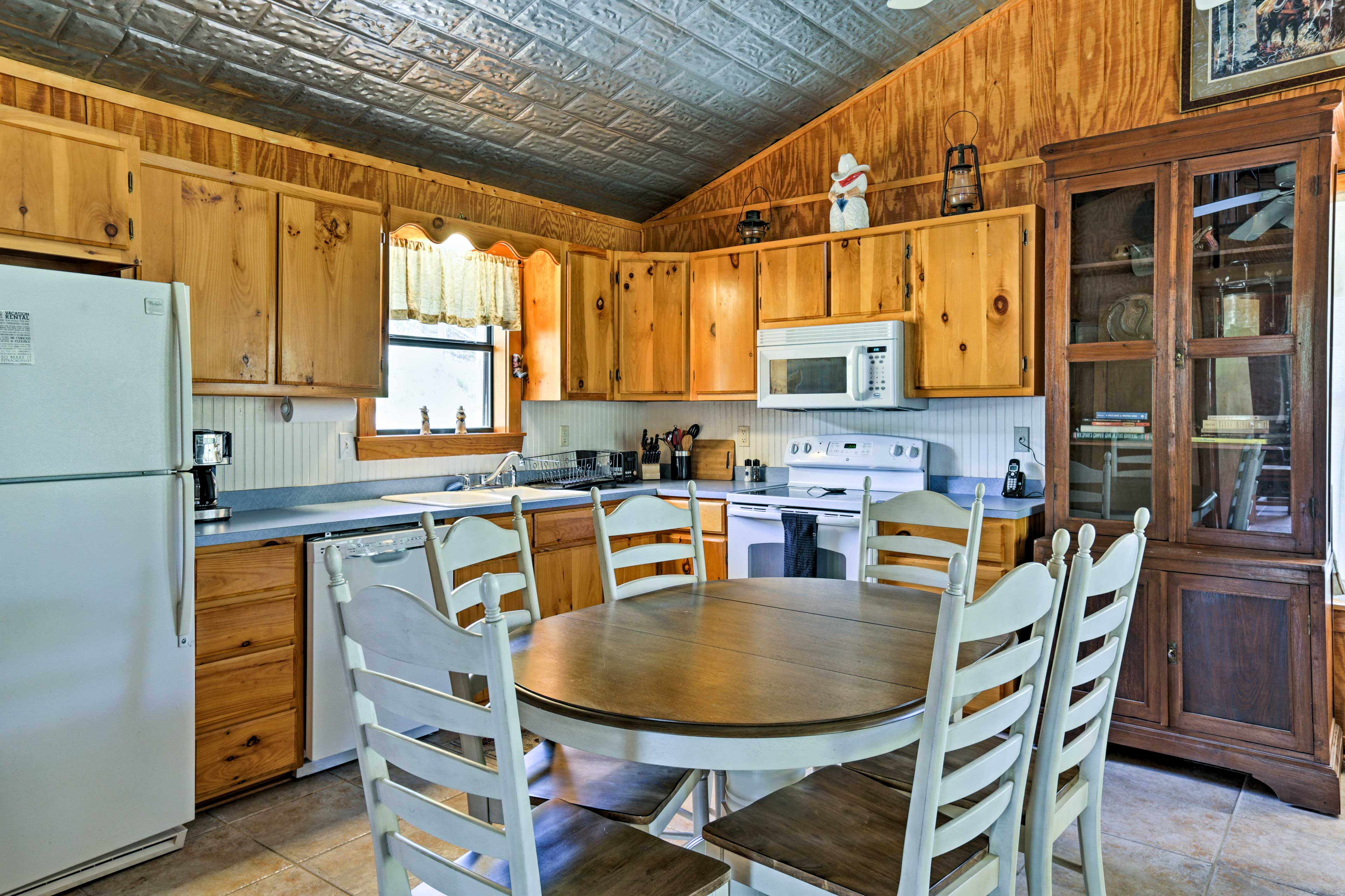 The fully equipped kitchen has everything you need to cook for your crew.