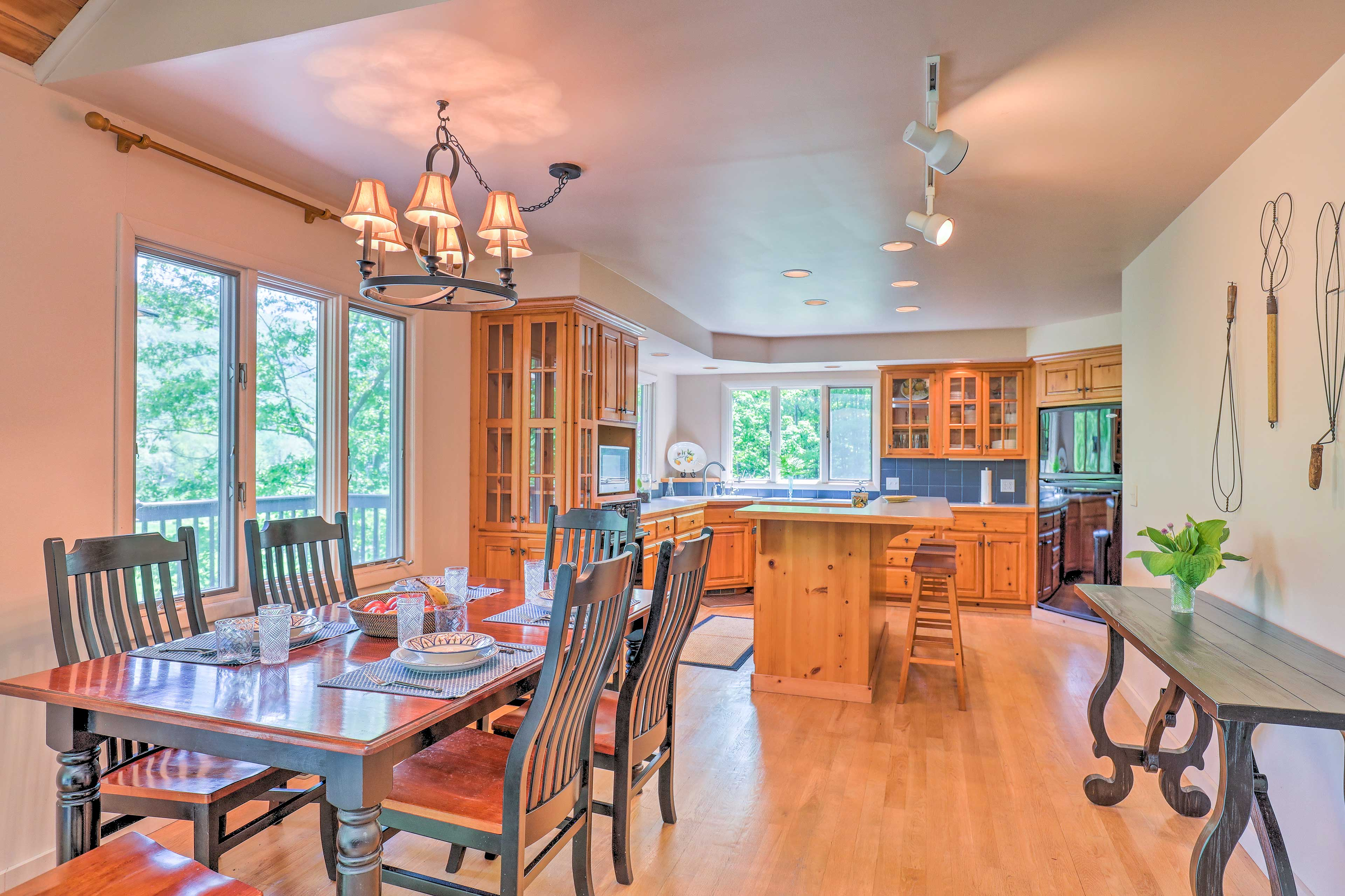 The dining area flows seamlessly into the kitchen space.