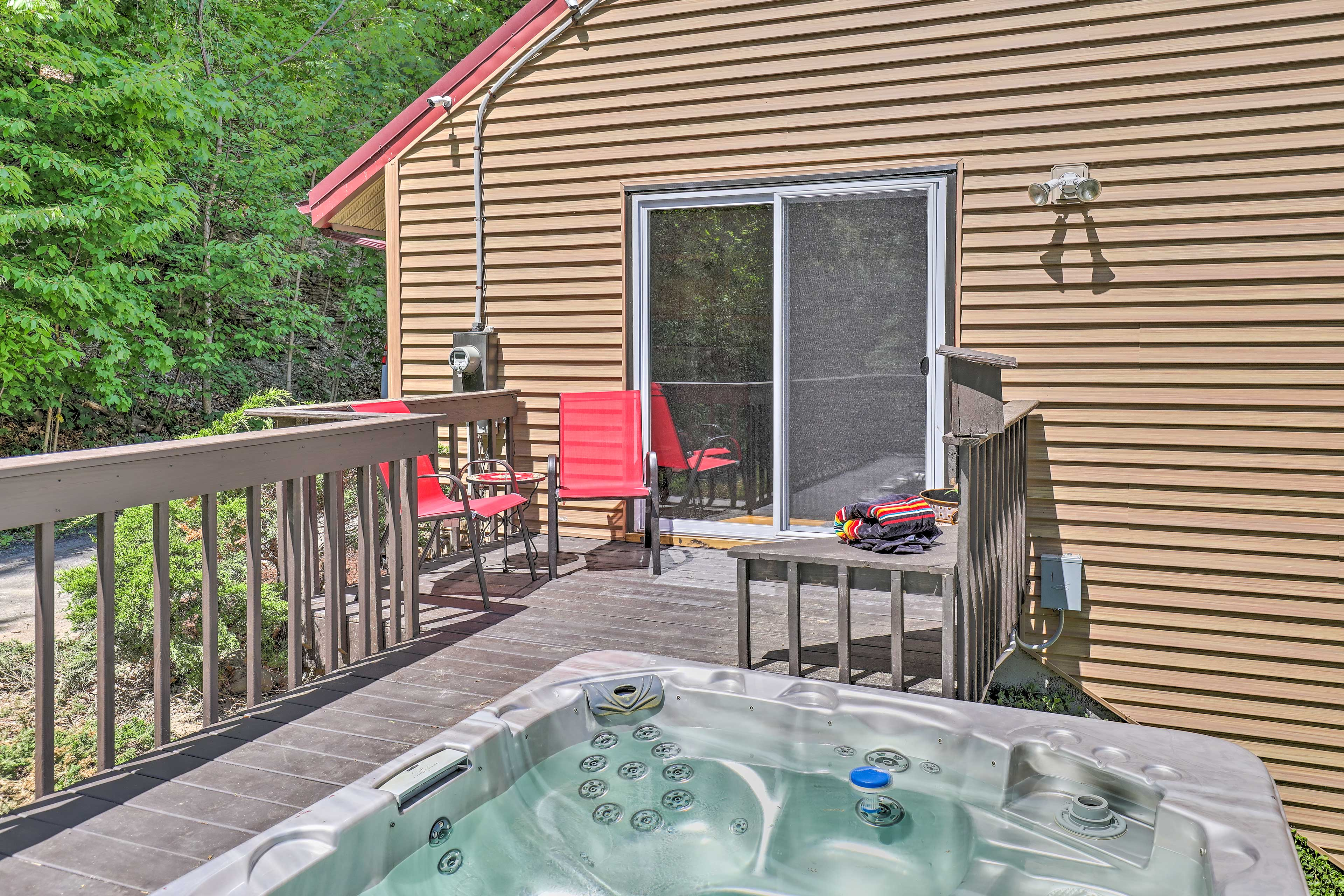 Access the hot tub through the sliding glass doors on the basement walkout.