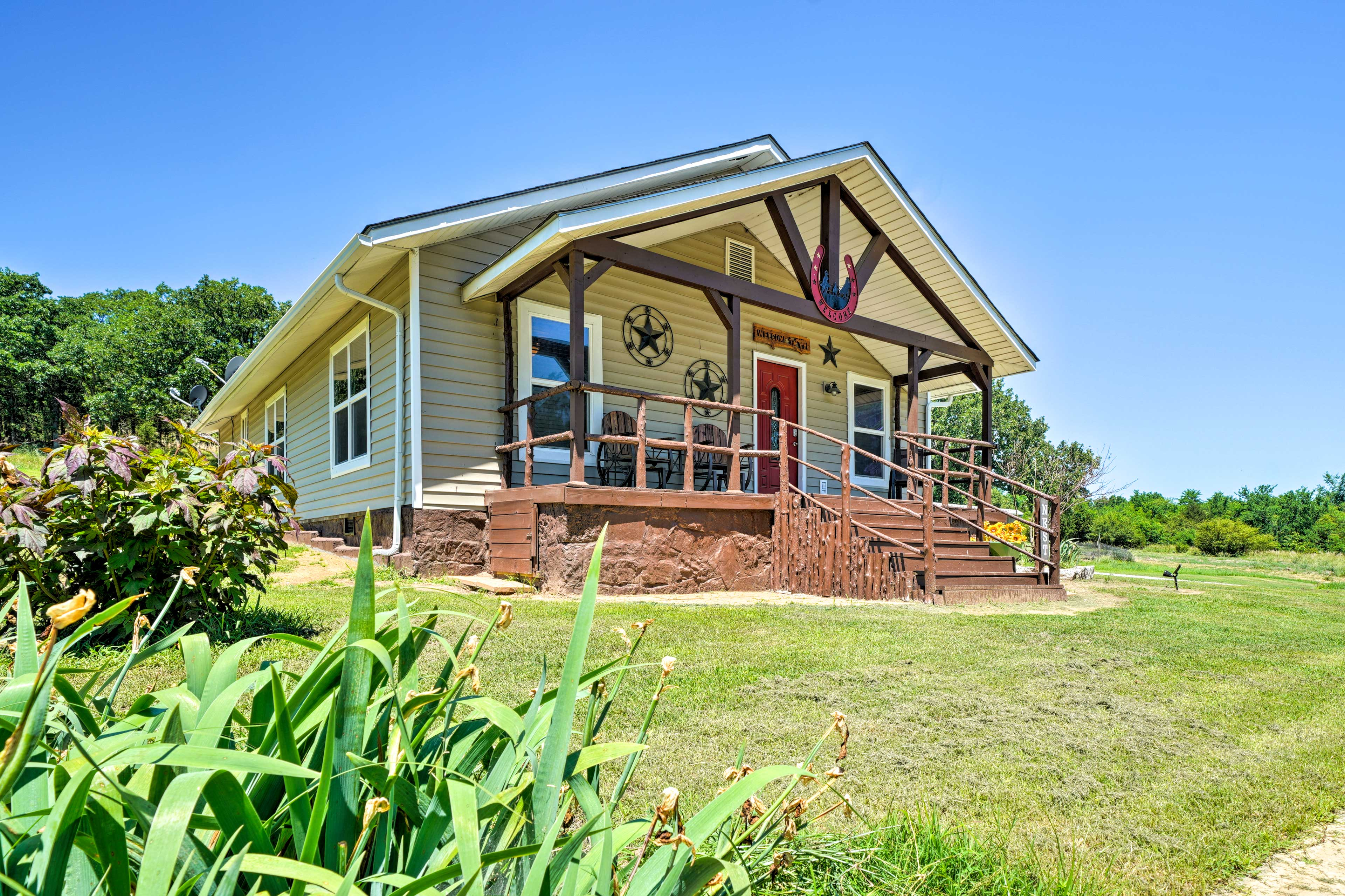 Enjoy beautiful McAlester from this vacation rental cottage on 30 private acres.