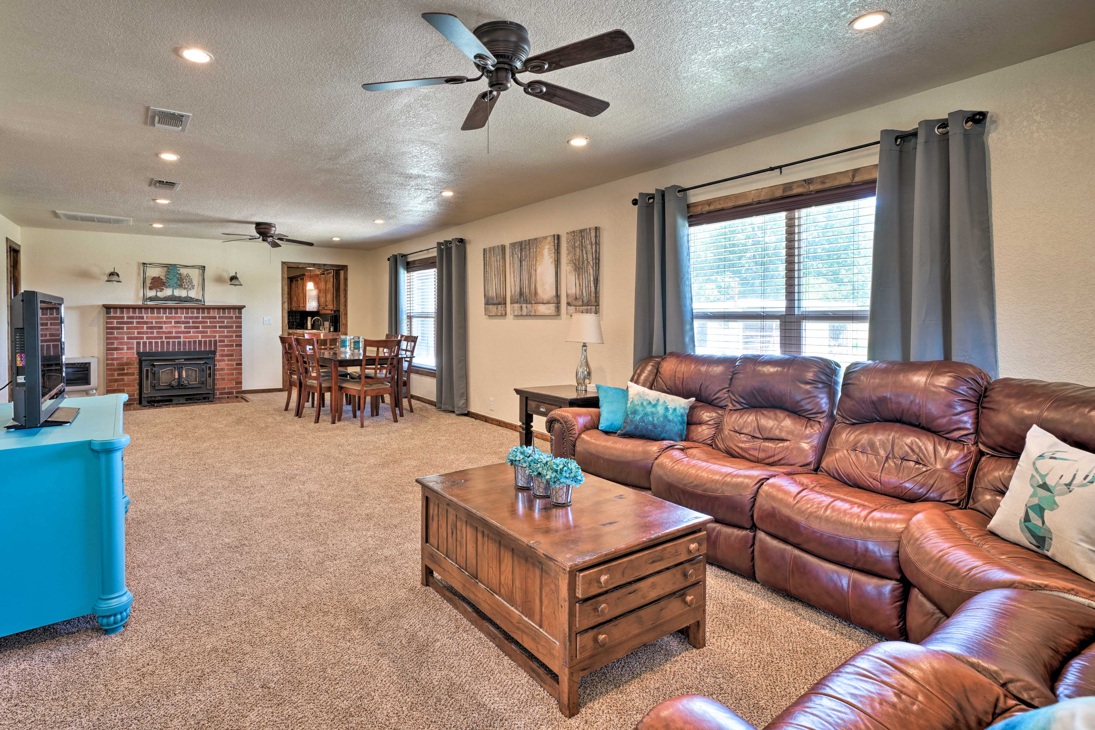The open floor plan interior provides plenty of space for your group.