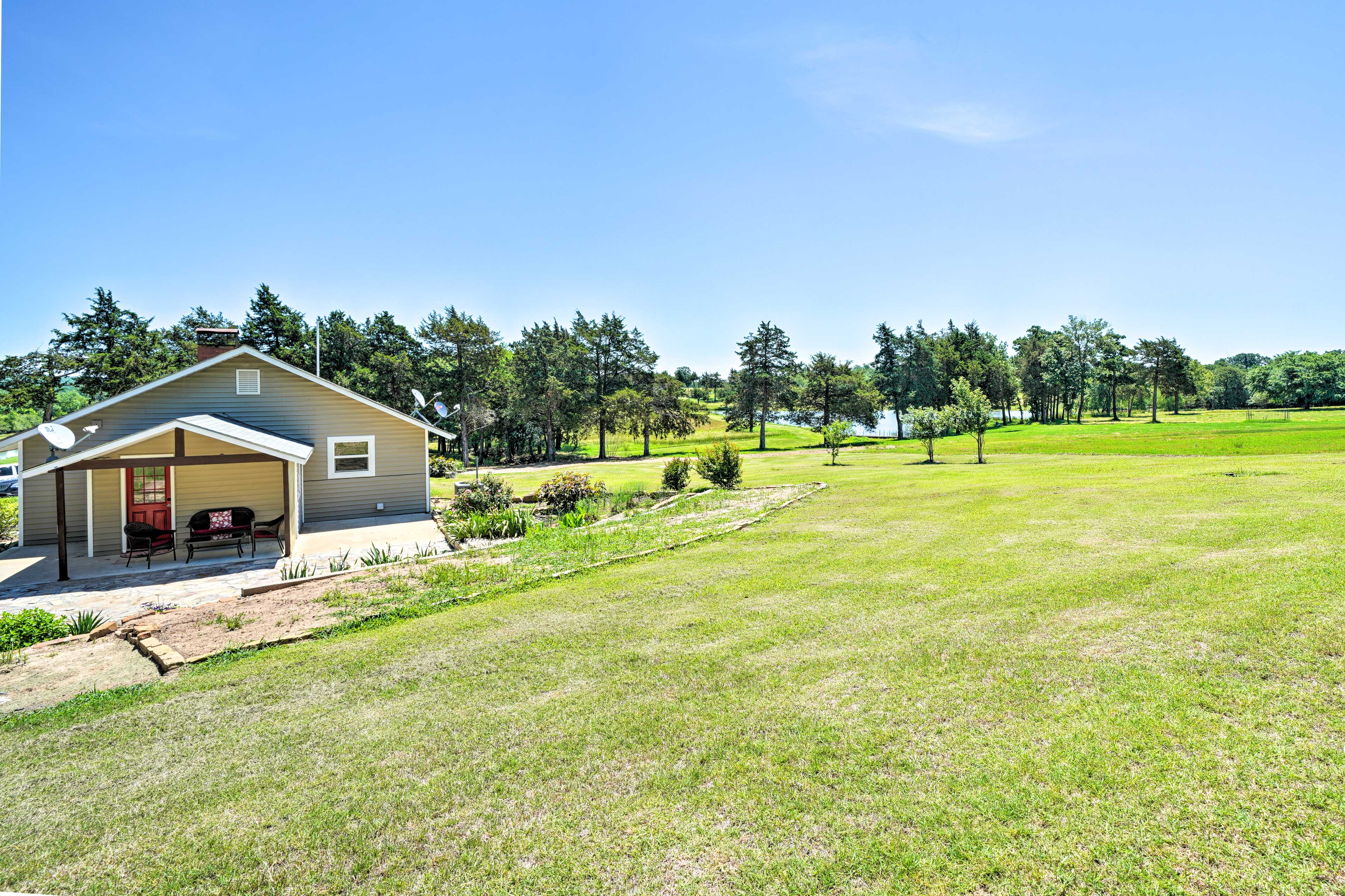 The property has 30 acres of wide open space and forested hills to explore.