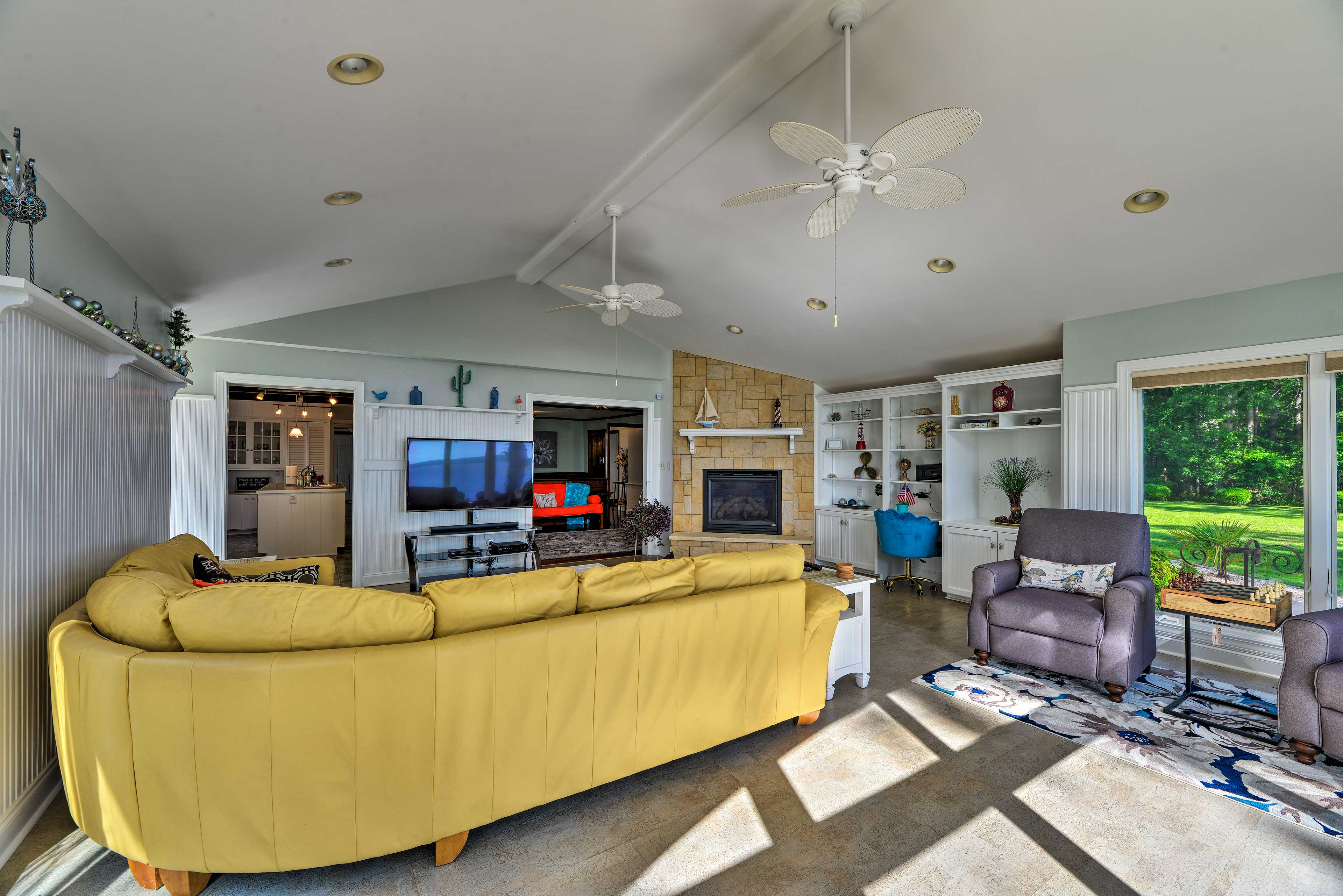 Kick back and watch your favorite shows on the flat-screen TV.