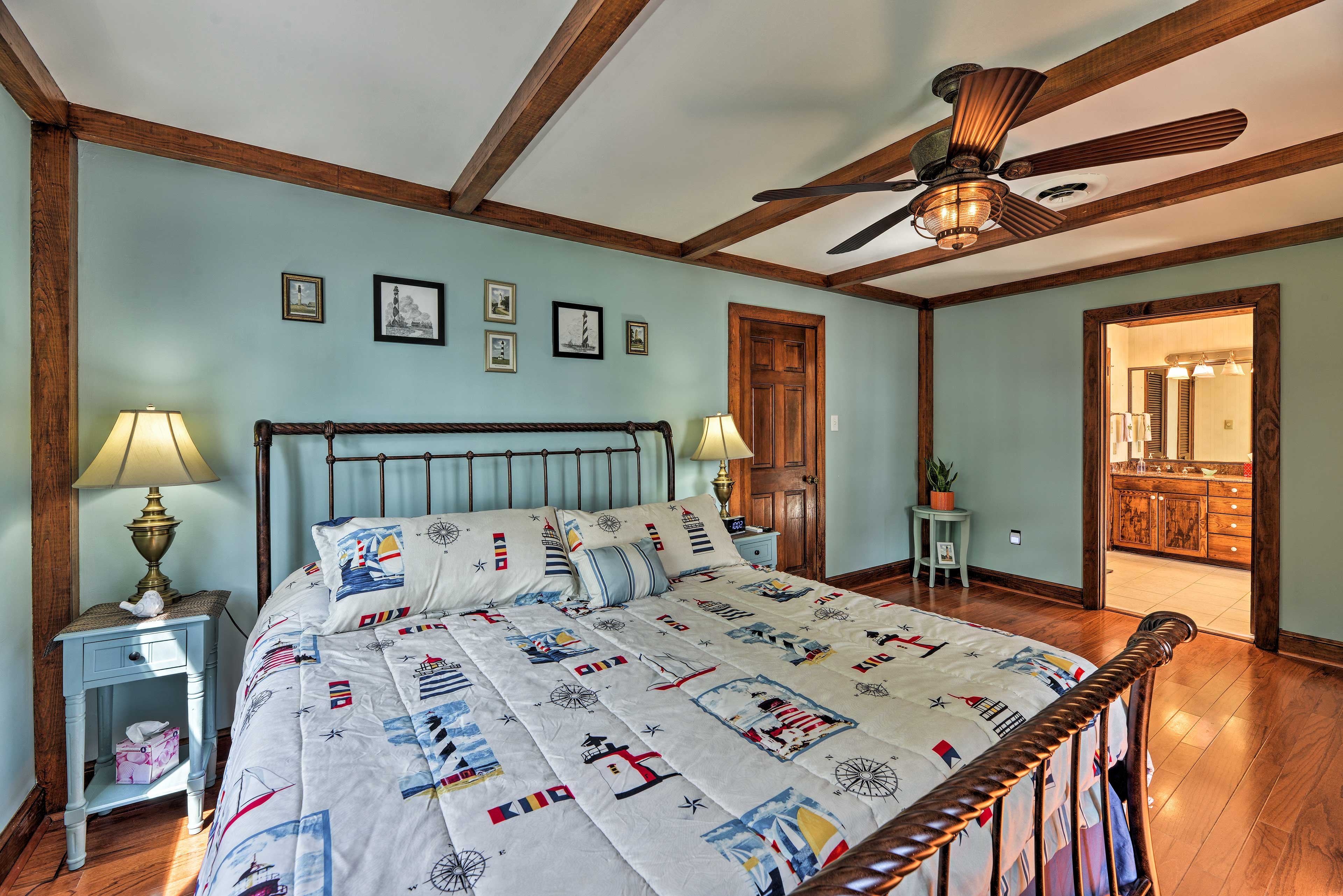 The second master bedroom also has a king bed.