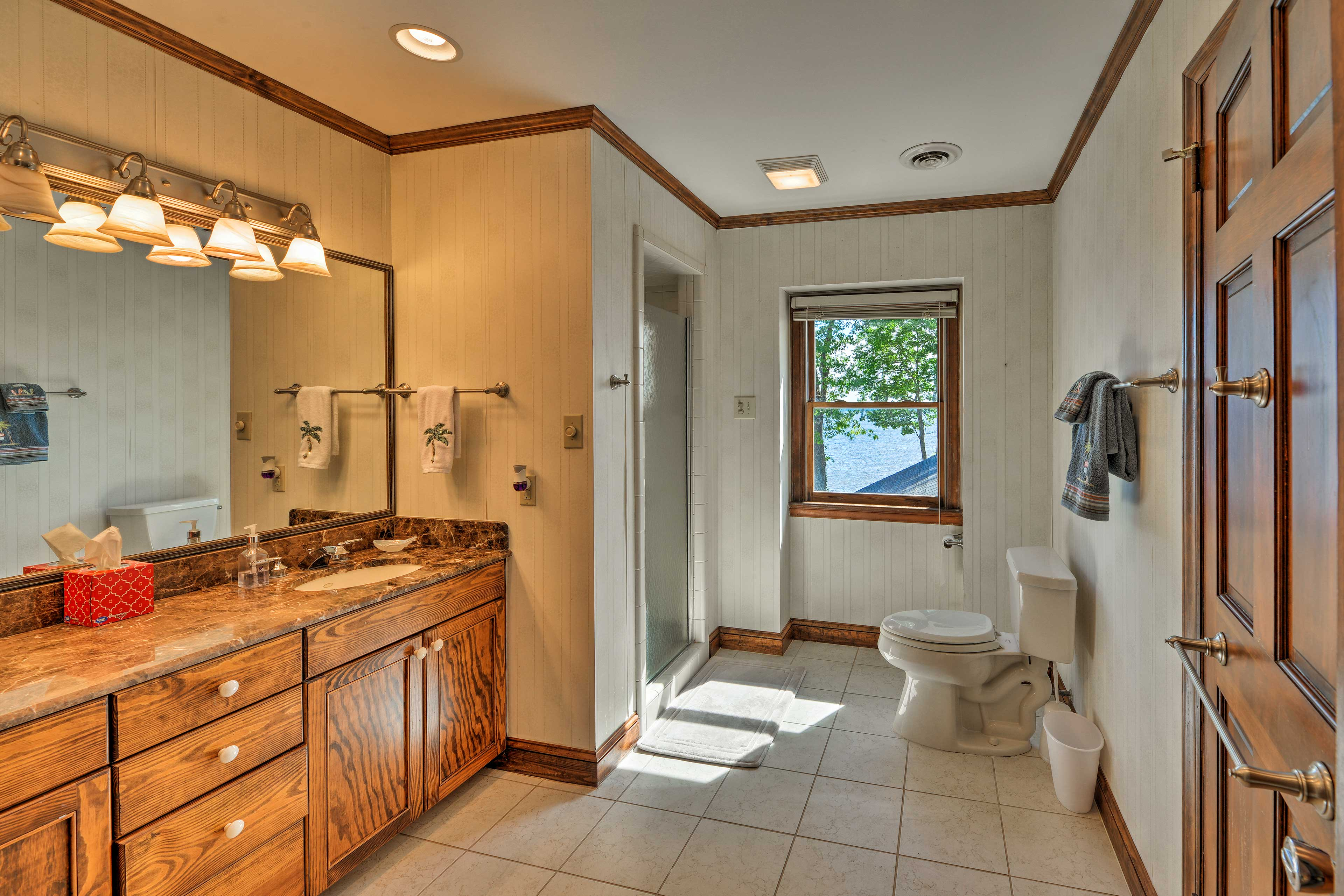 The second master bathroom has a walk-in shower.