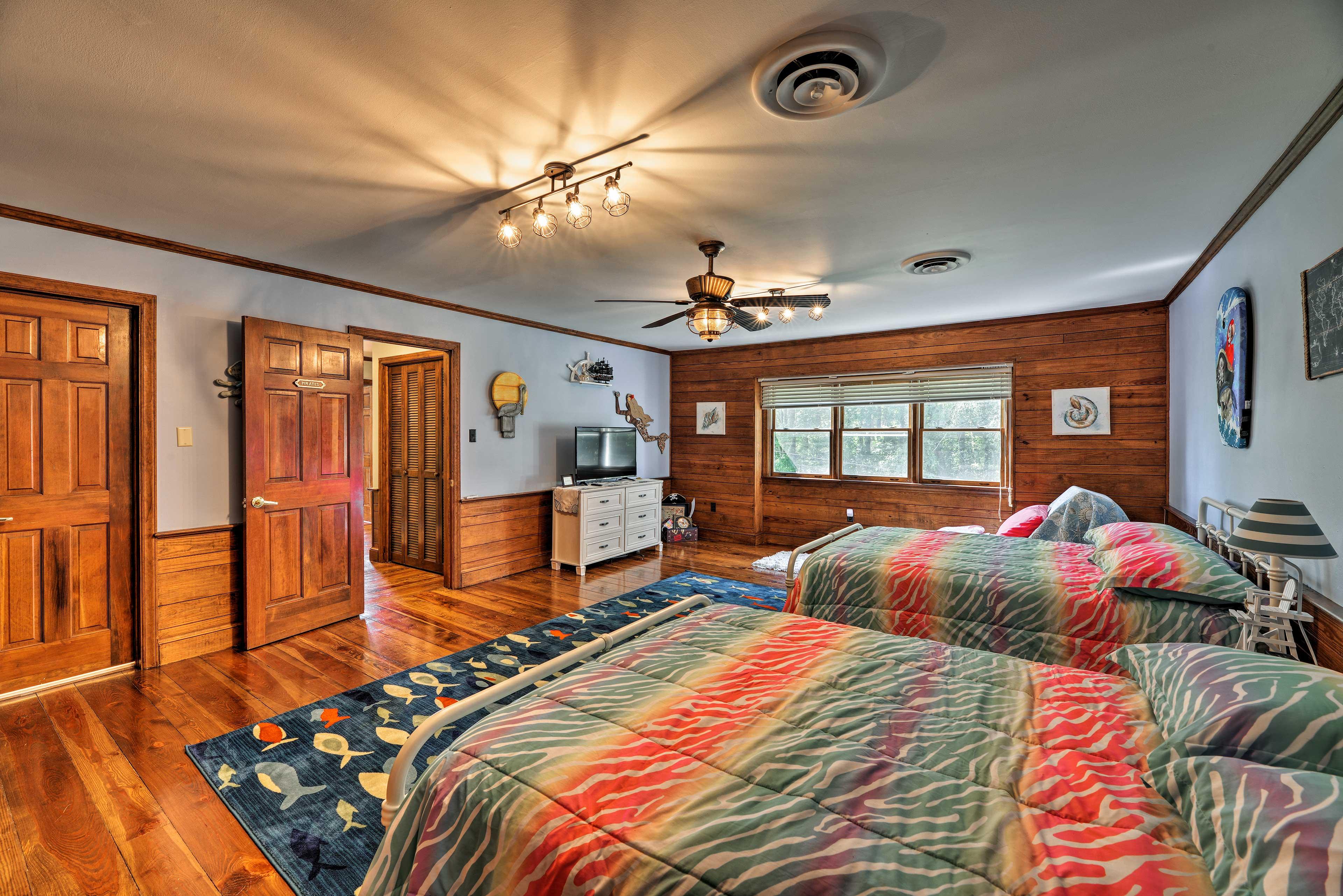 This room hosts beautiful hardwood floors!