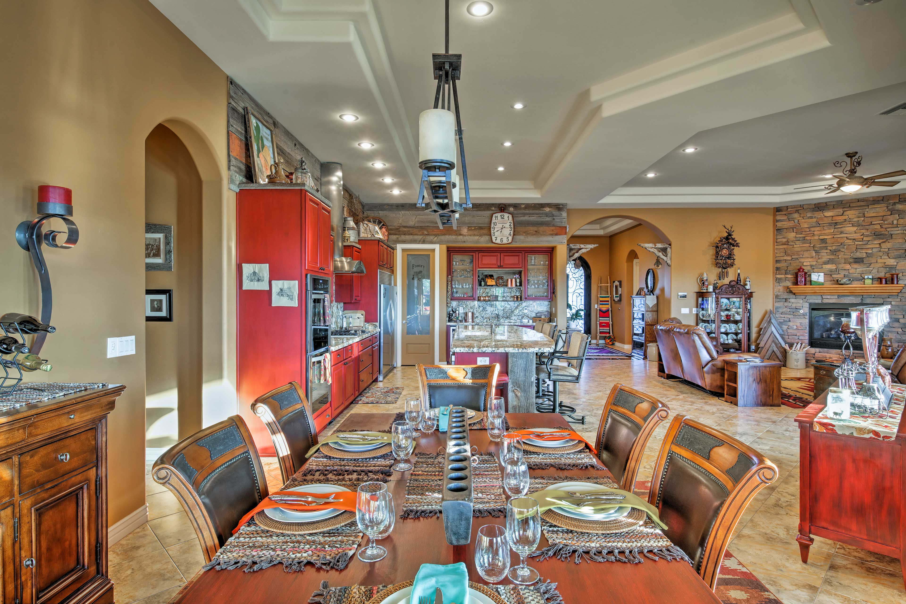 Savor your meals together at the spacious dining table.