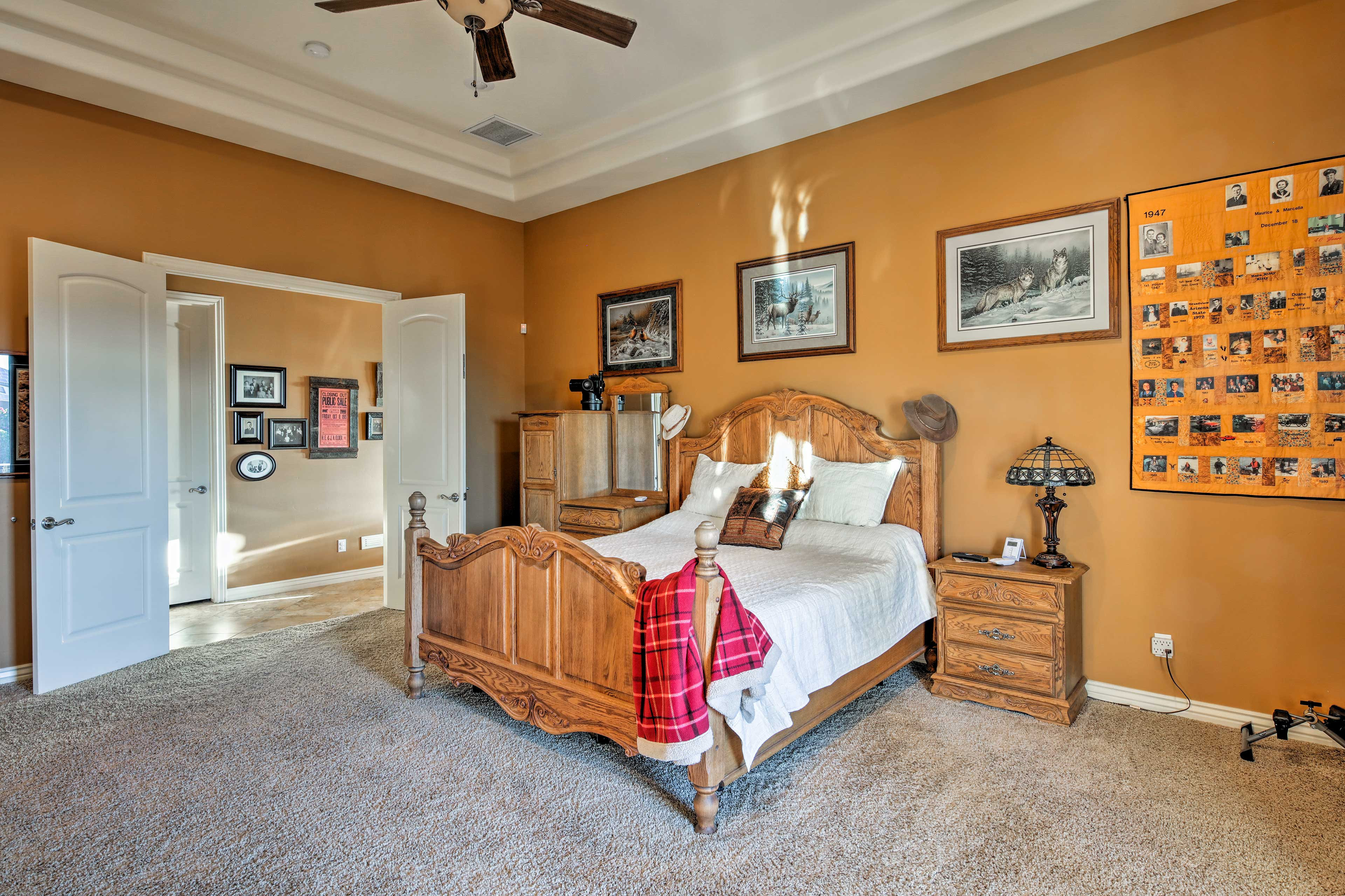 Thoughtful decor and wood accents make this bedroom cozy.