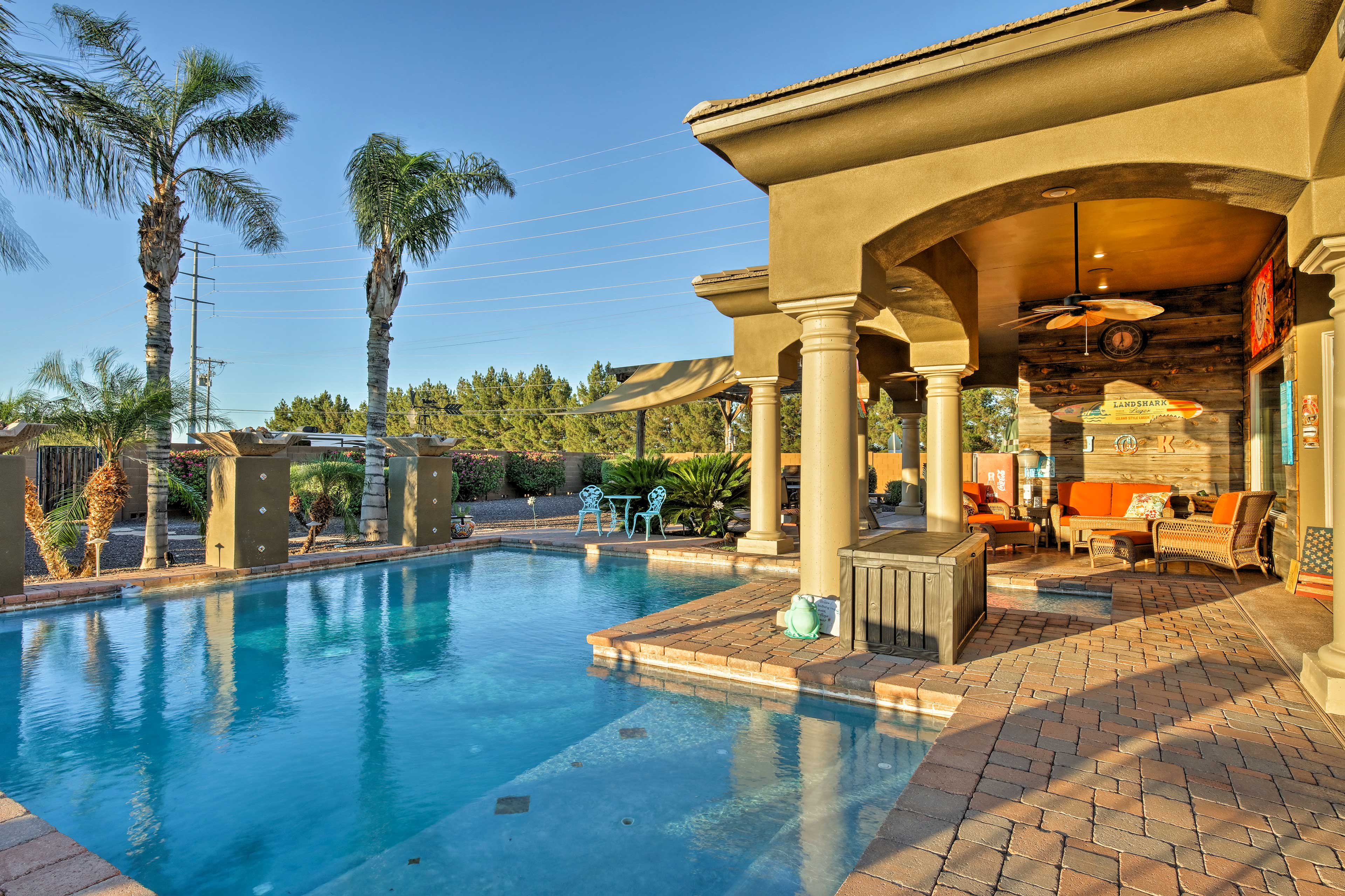 Cool off with a dip in the pool then unwind in the hot tub.