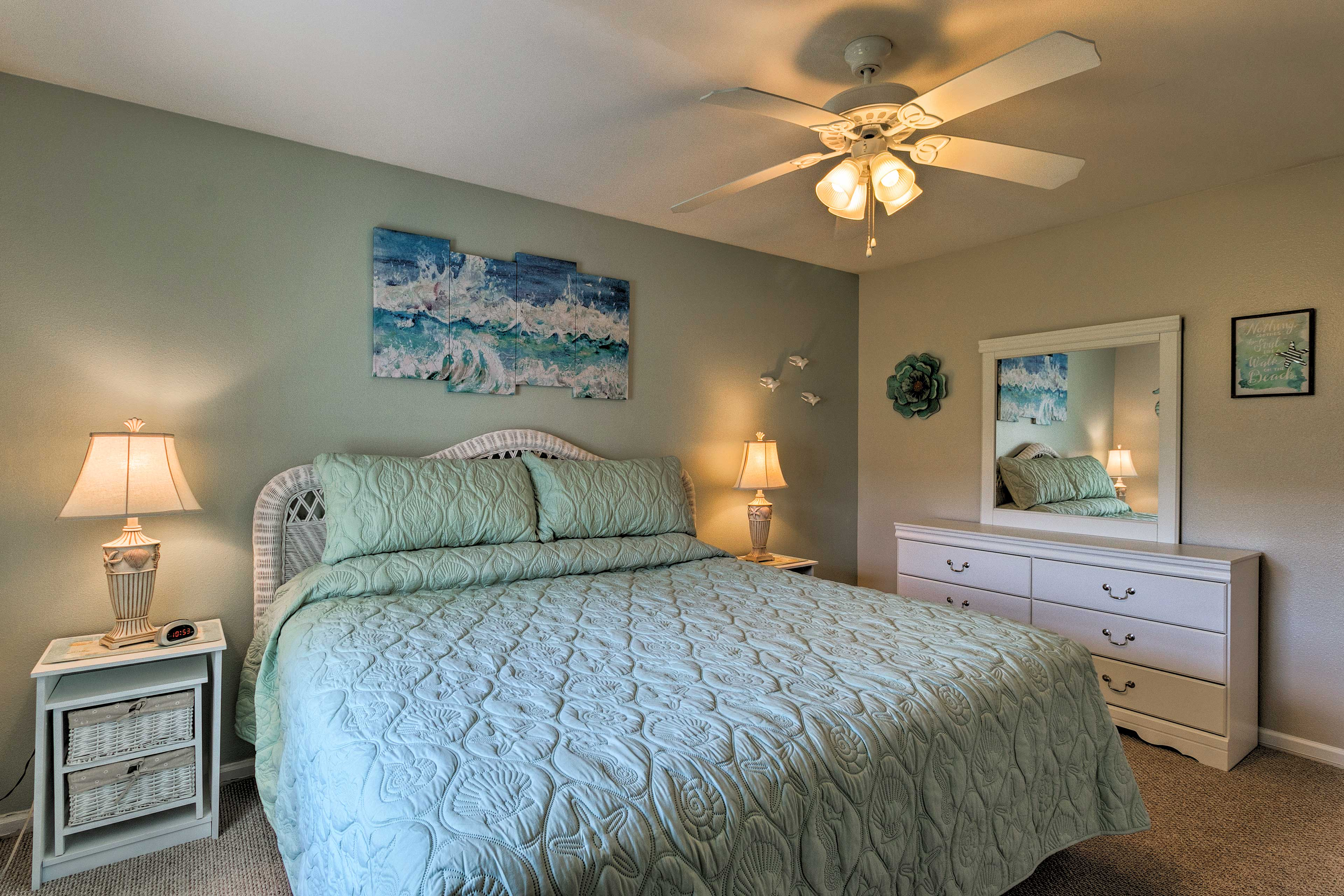 Both bedrooms offer ceiling fans.