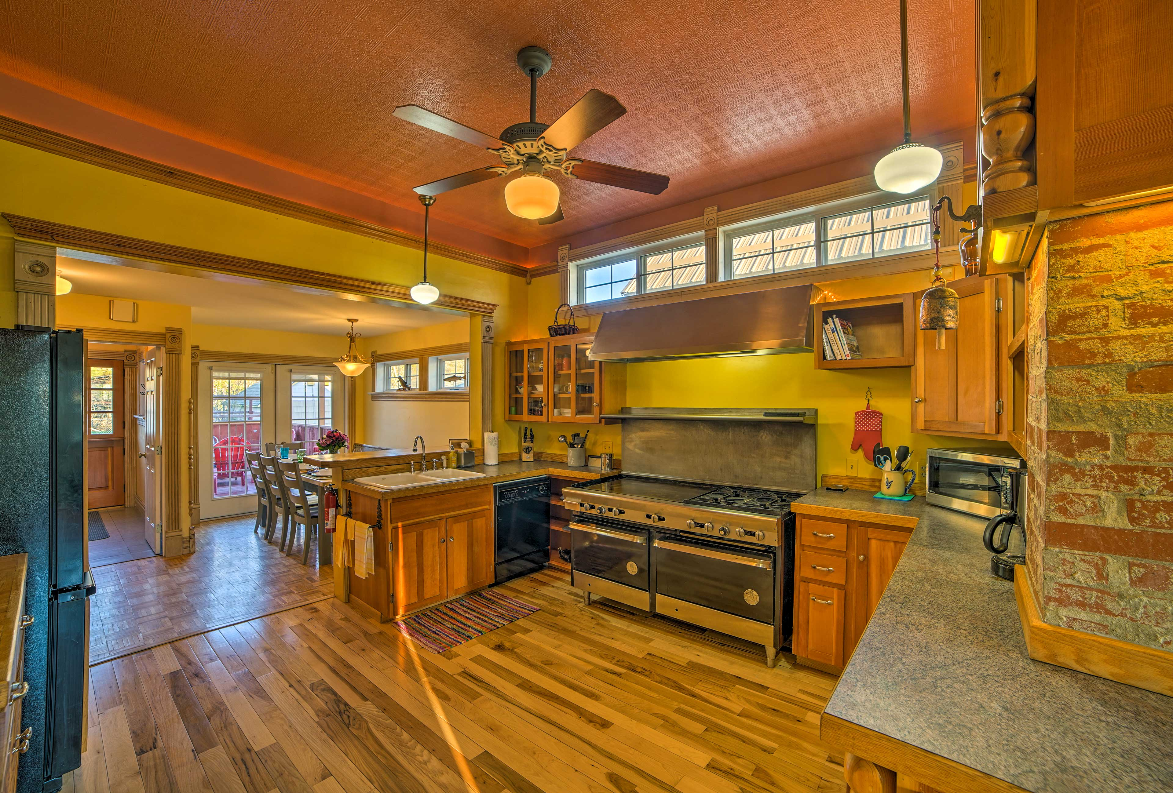 Custom wood flooring complements this stunning kitchen.