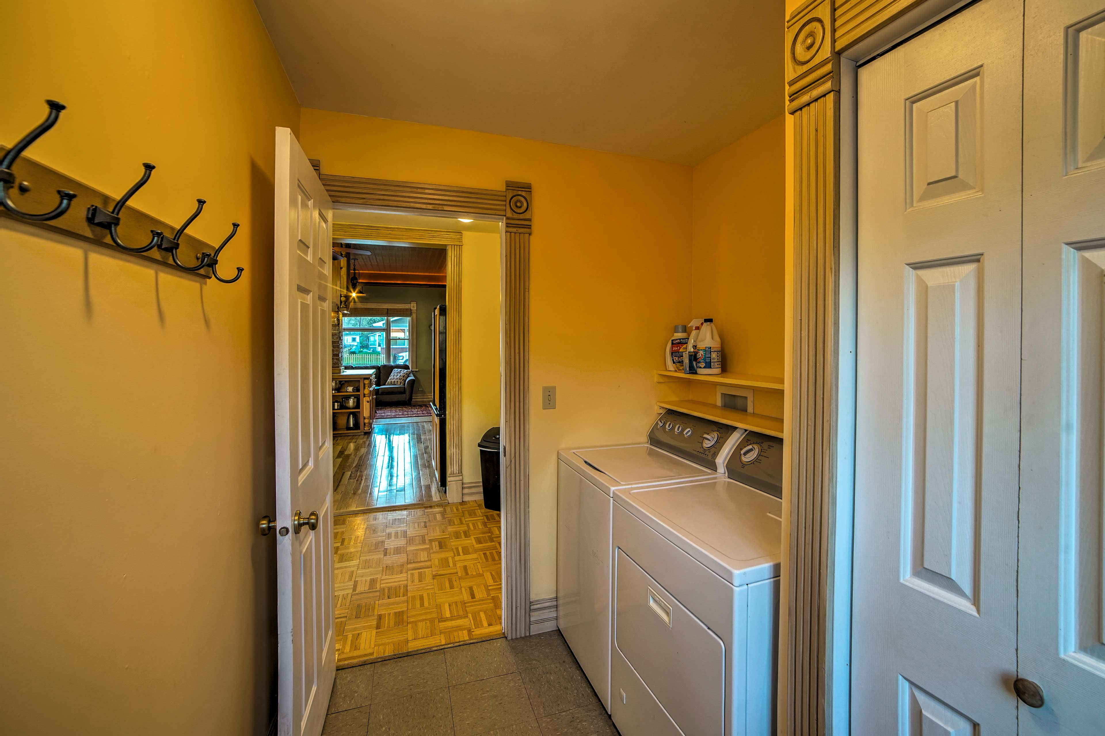 Wash and dry your clothes in the in-unit laundry room.