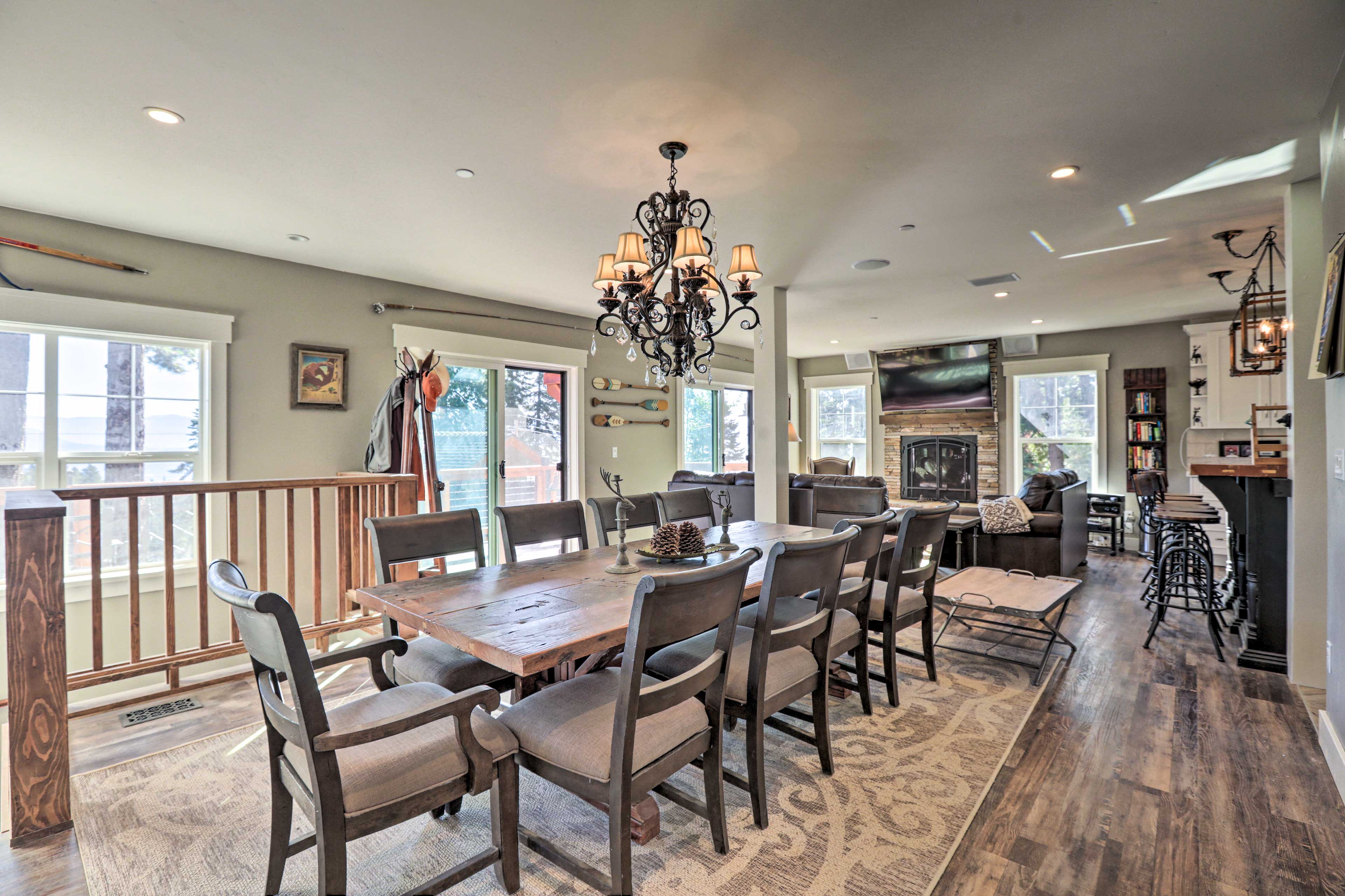 Gather to dine at the 10-person extended dining table.