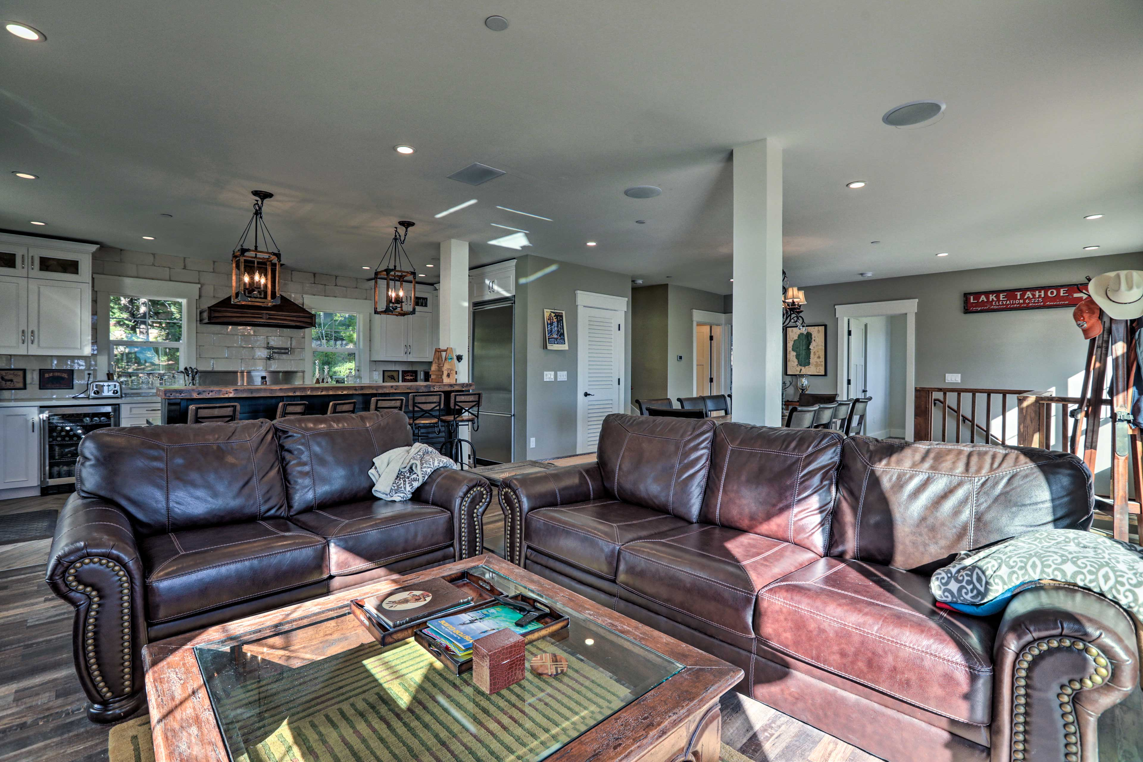 Kick back on the leather couches after day on the slopes or the lake.