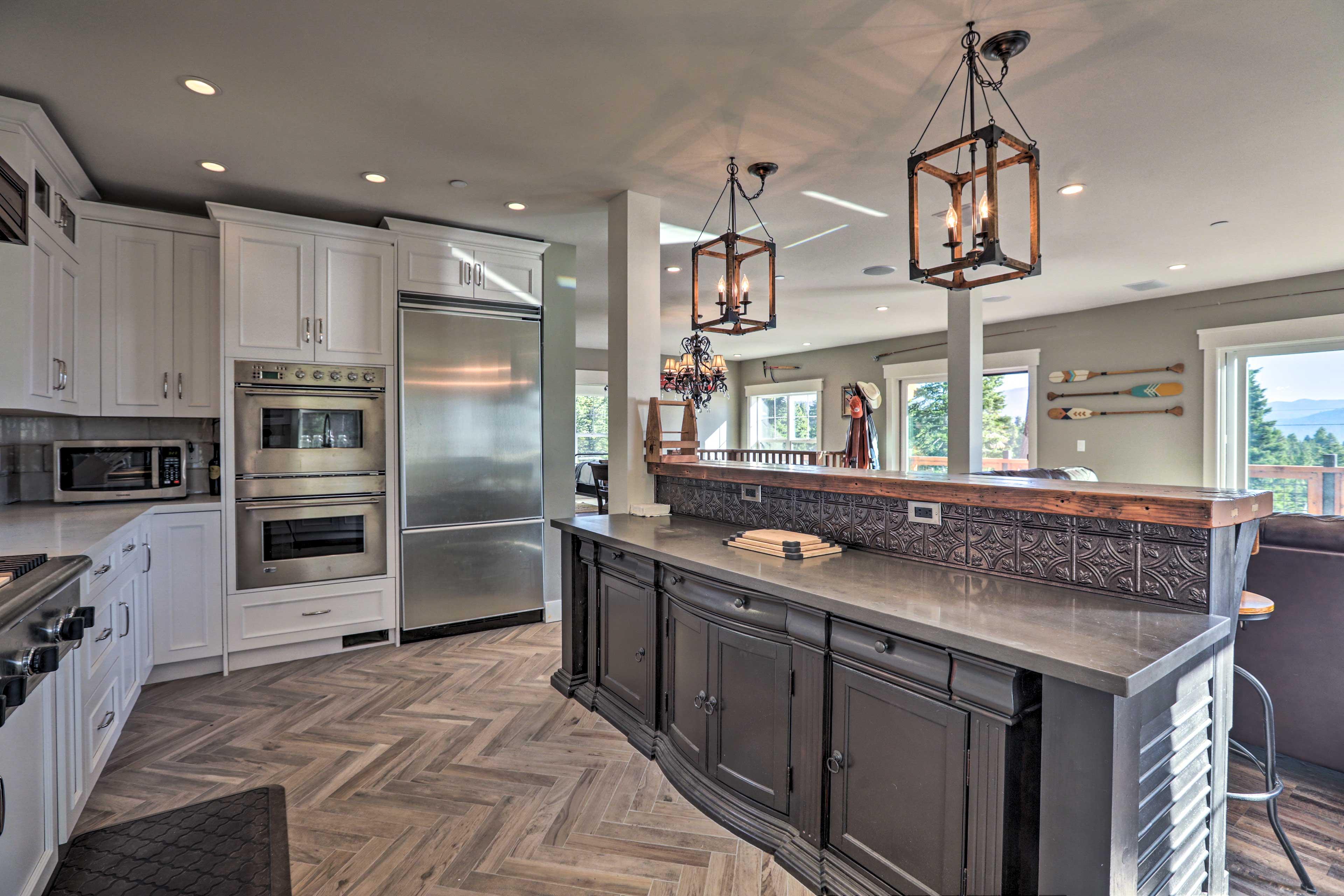 Herringbone floors add an upscale touch.
