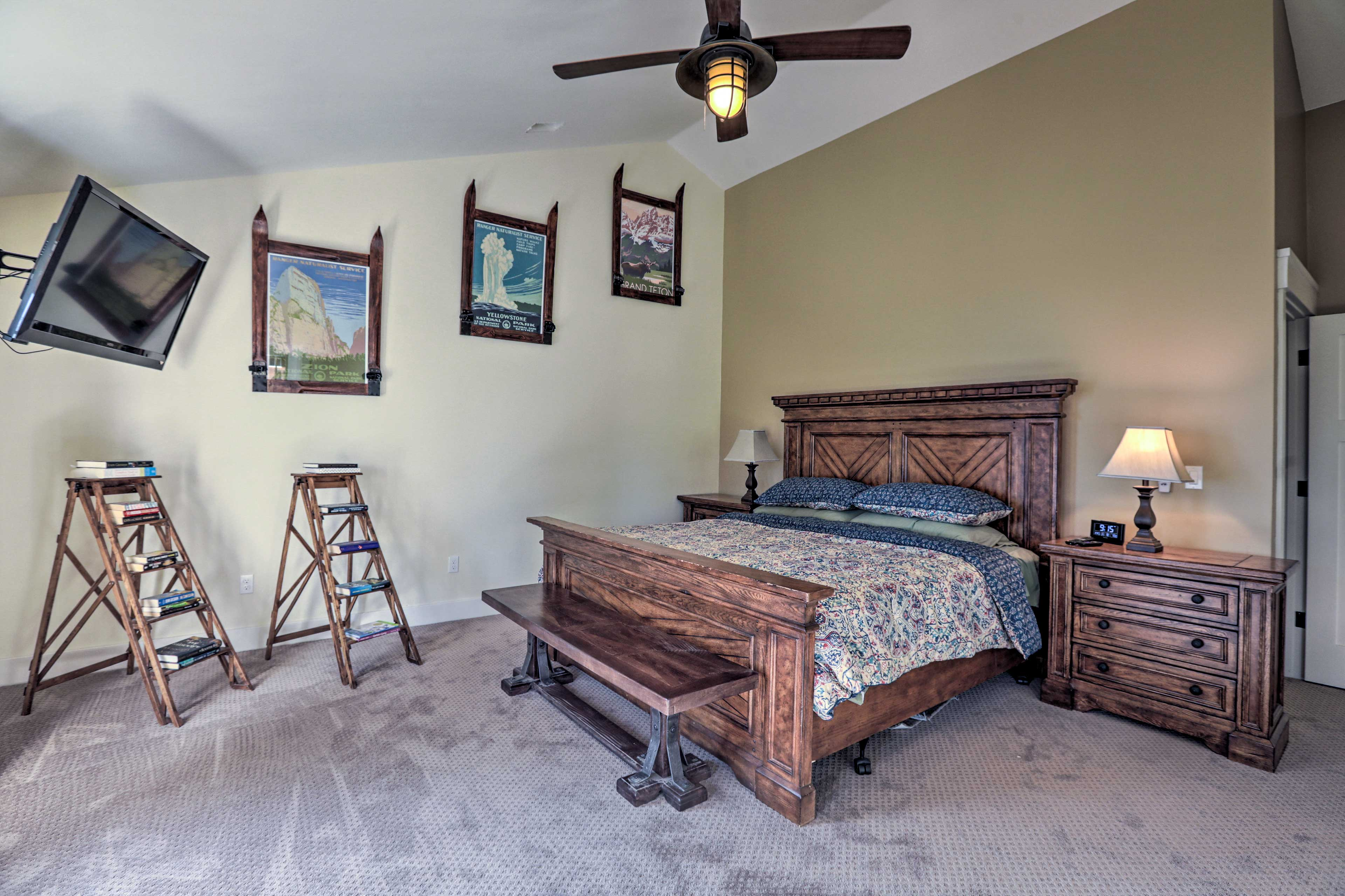 Find a king bed in the second master bedroom.