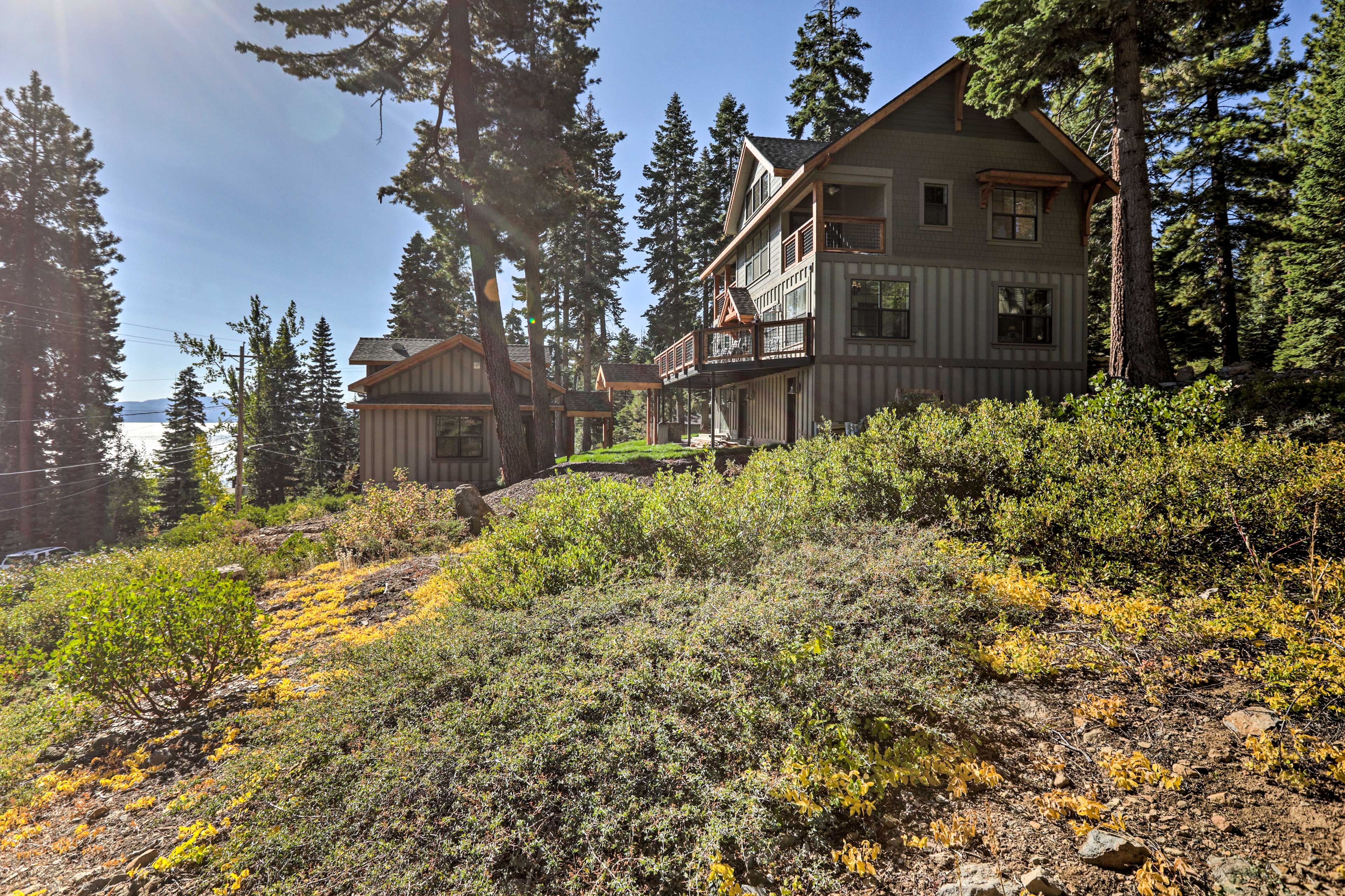 The property sits on a half-acre private lot.