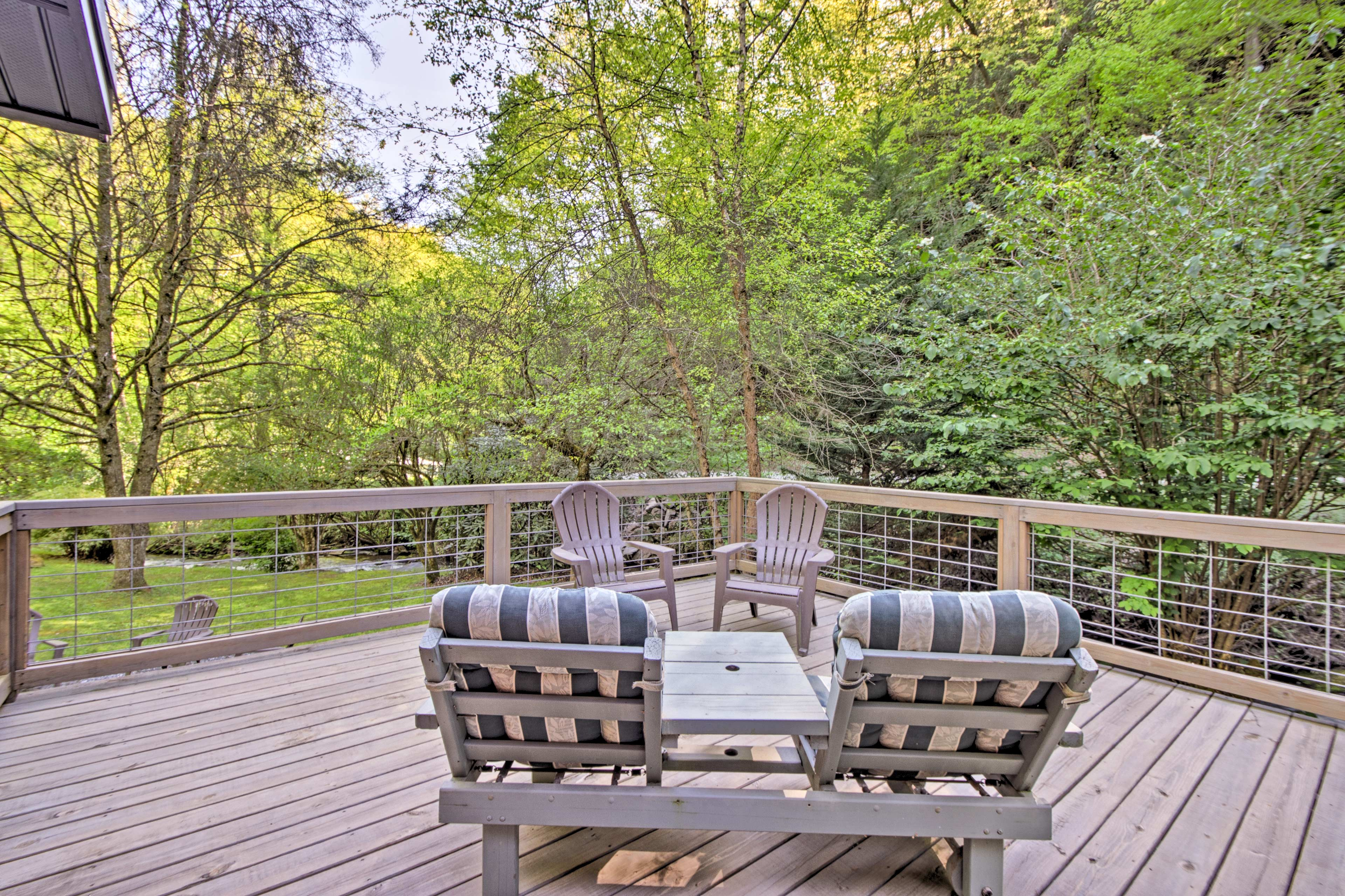 Listen to the sound of rushing water passing by in Cooper Creeks from the porch.