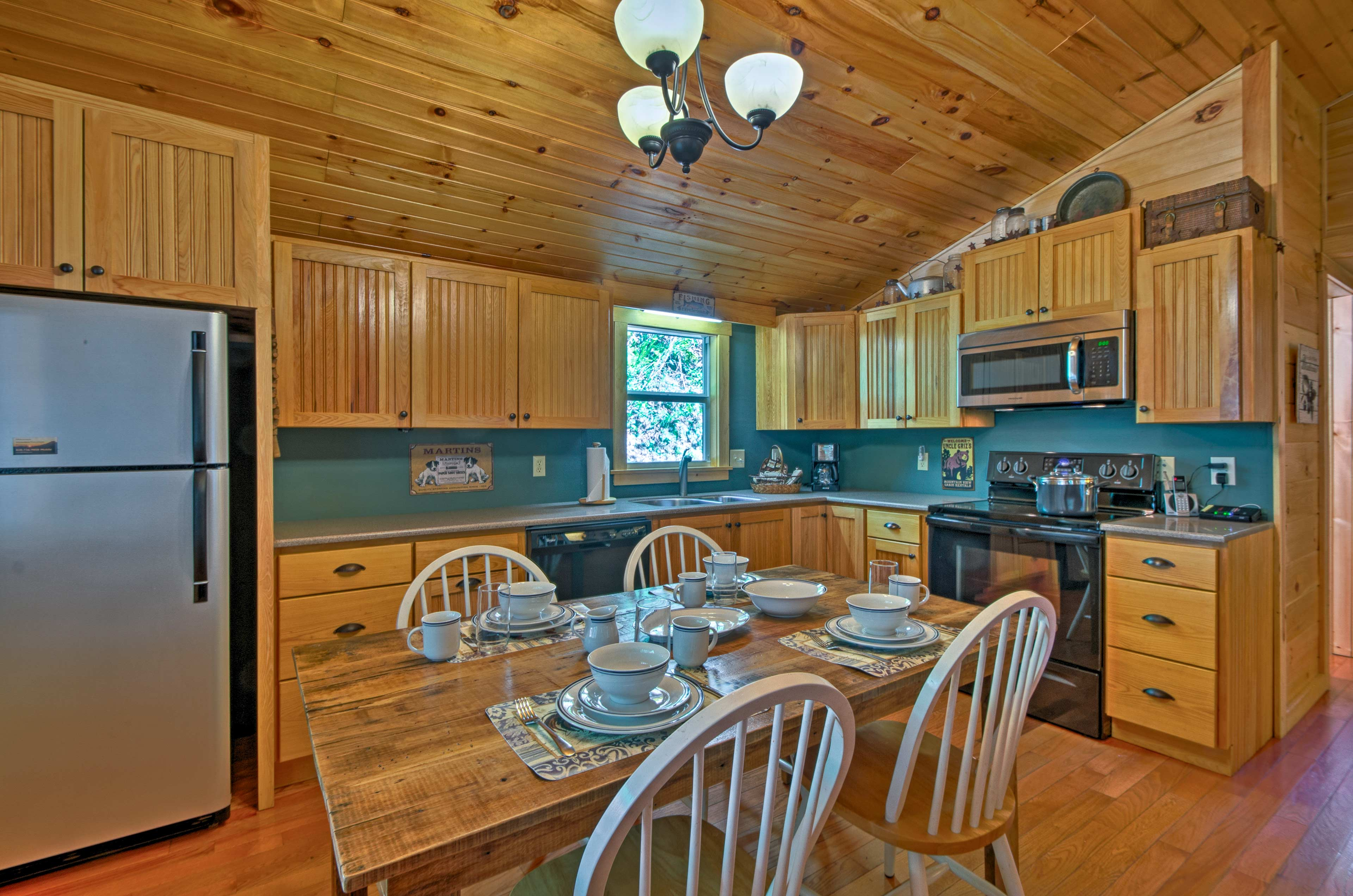 The kitchen is fully equipped to handle all of your home-cooking needs.