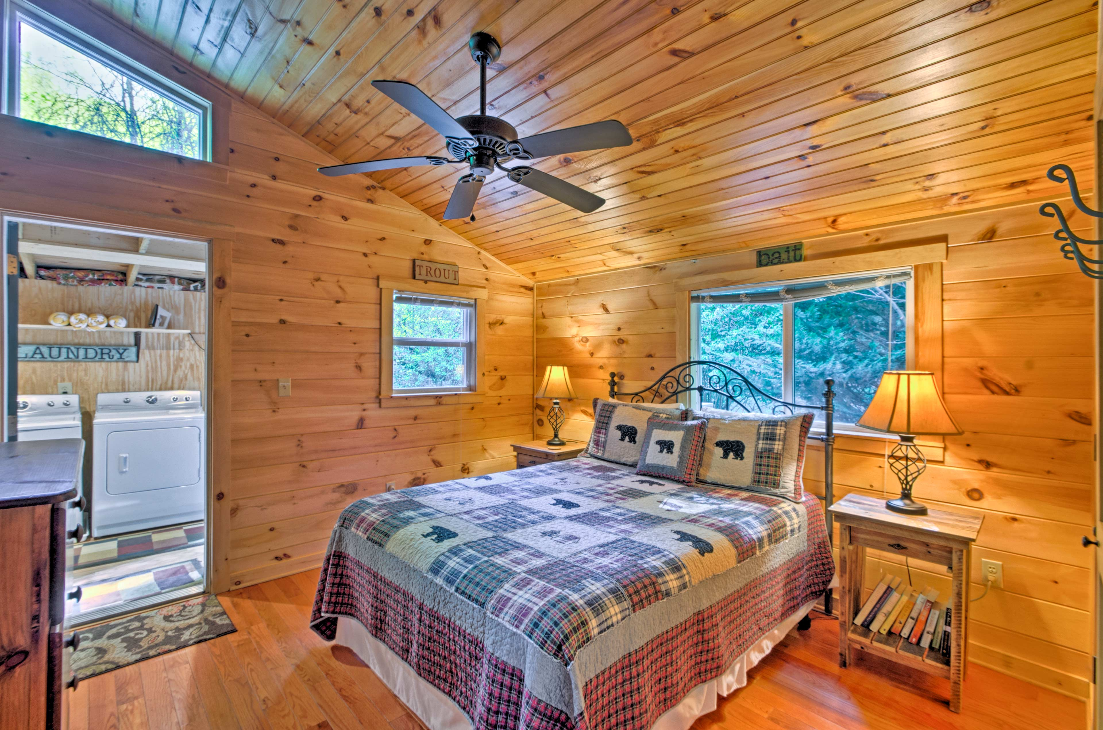 Peaceful slumbers await in the master bedroom with a queen bed for 2.