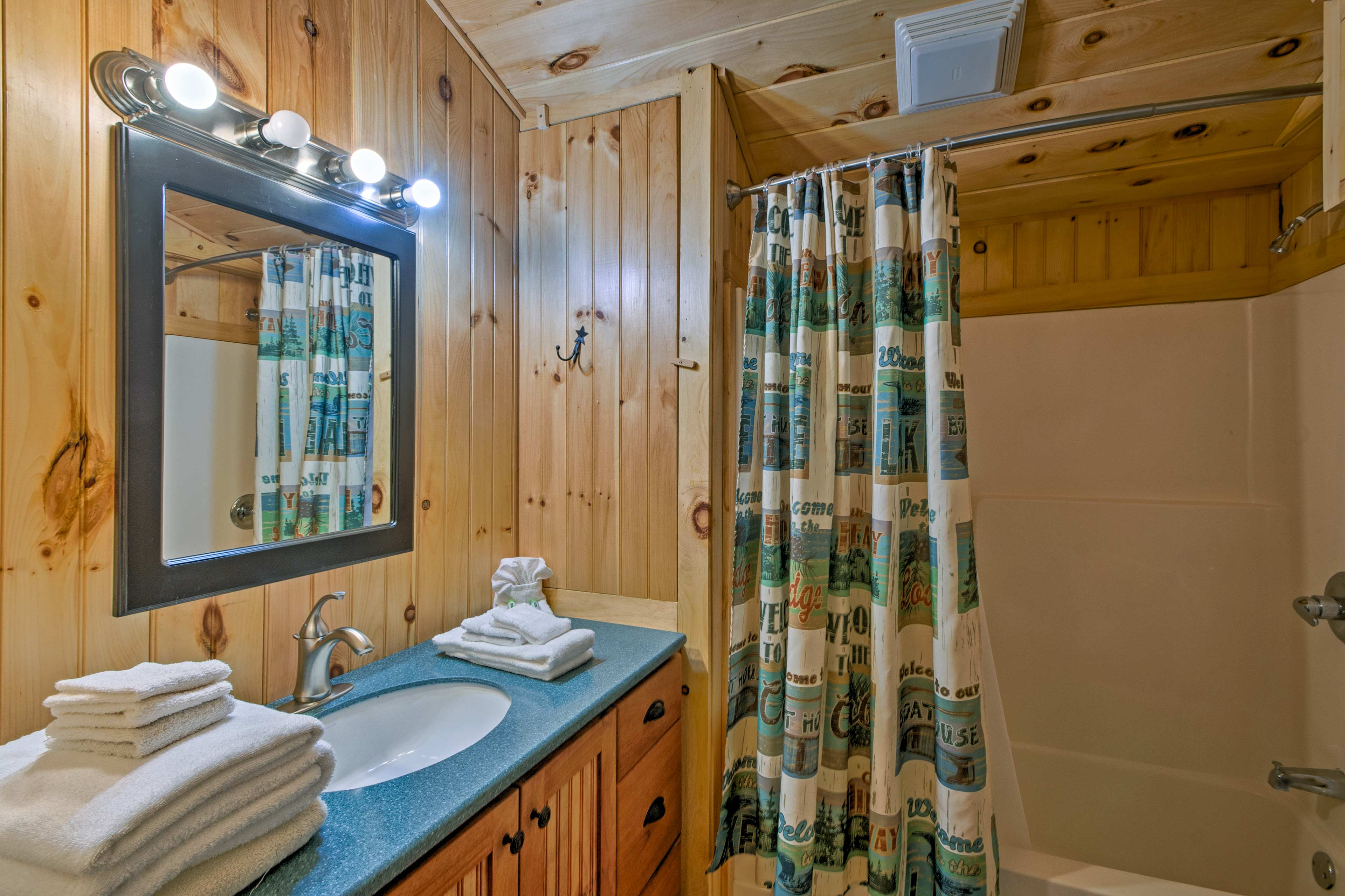 After a day outdoors, enjoy a cleansing shower in the full bathroom.