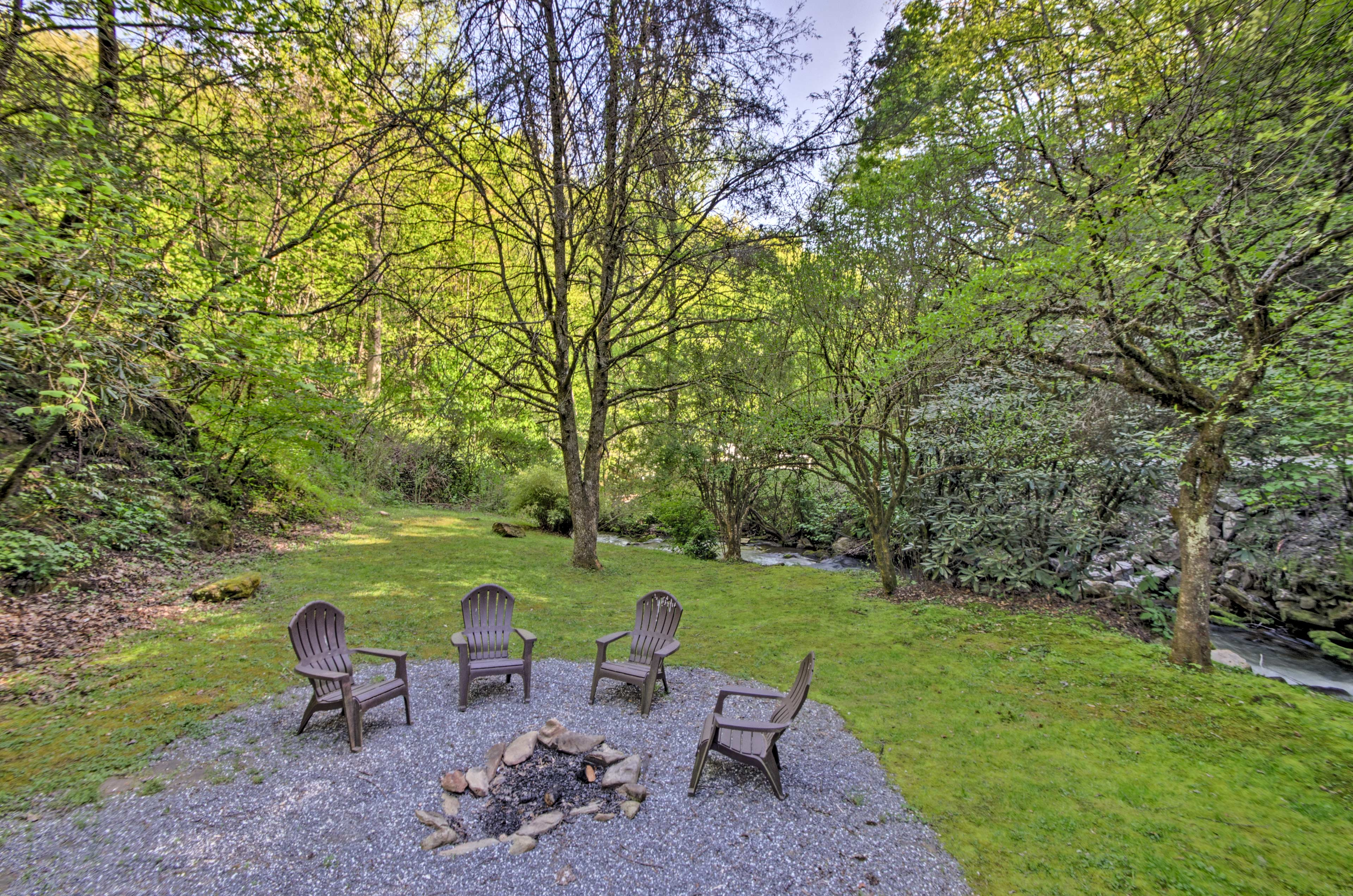 Soak in your location Bryson City location while sitting next to the fire pit!