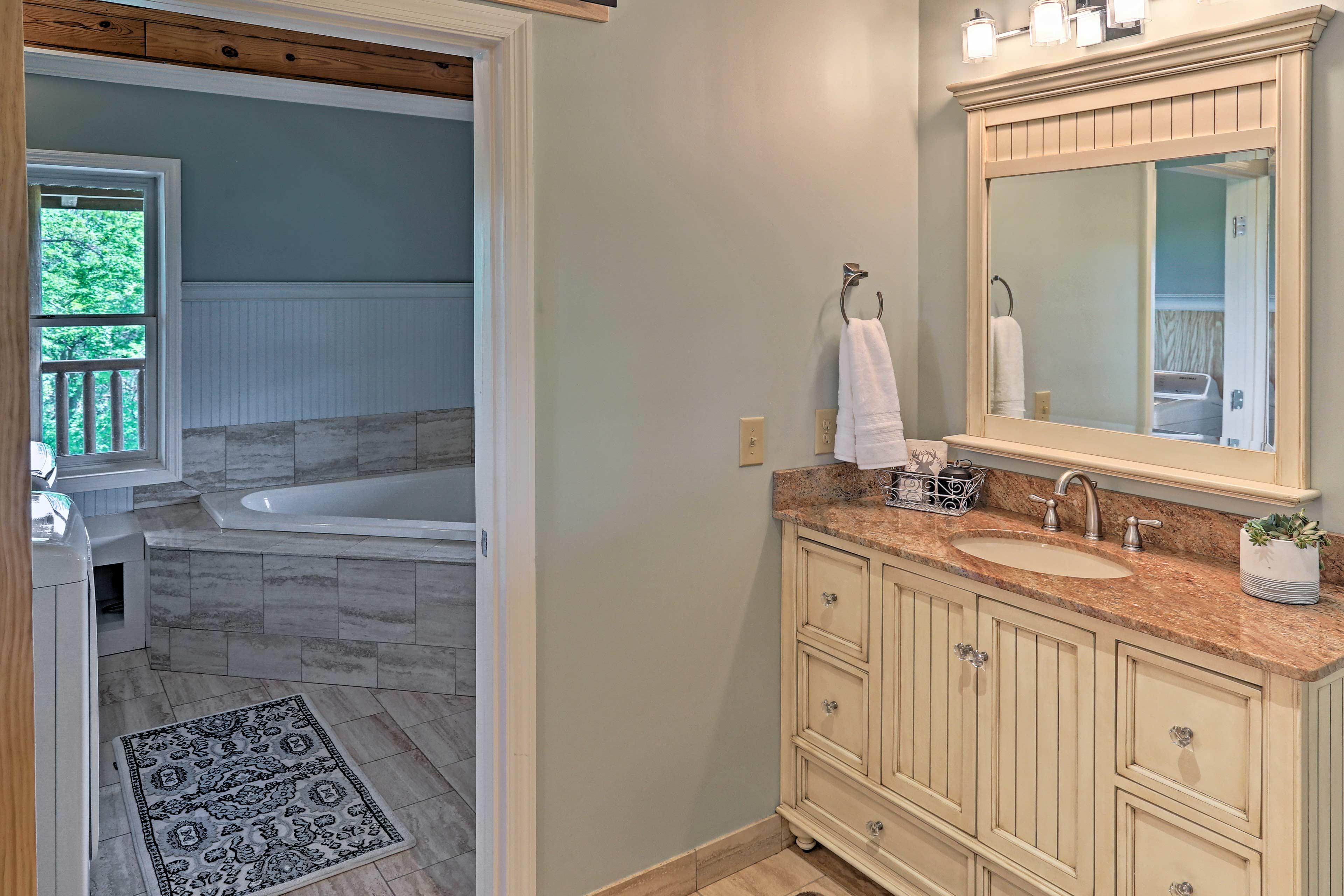 Primp and pamper in this spa-like en-suite bathroom.