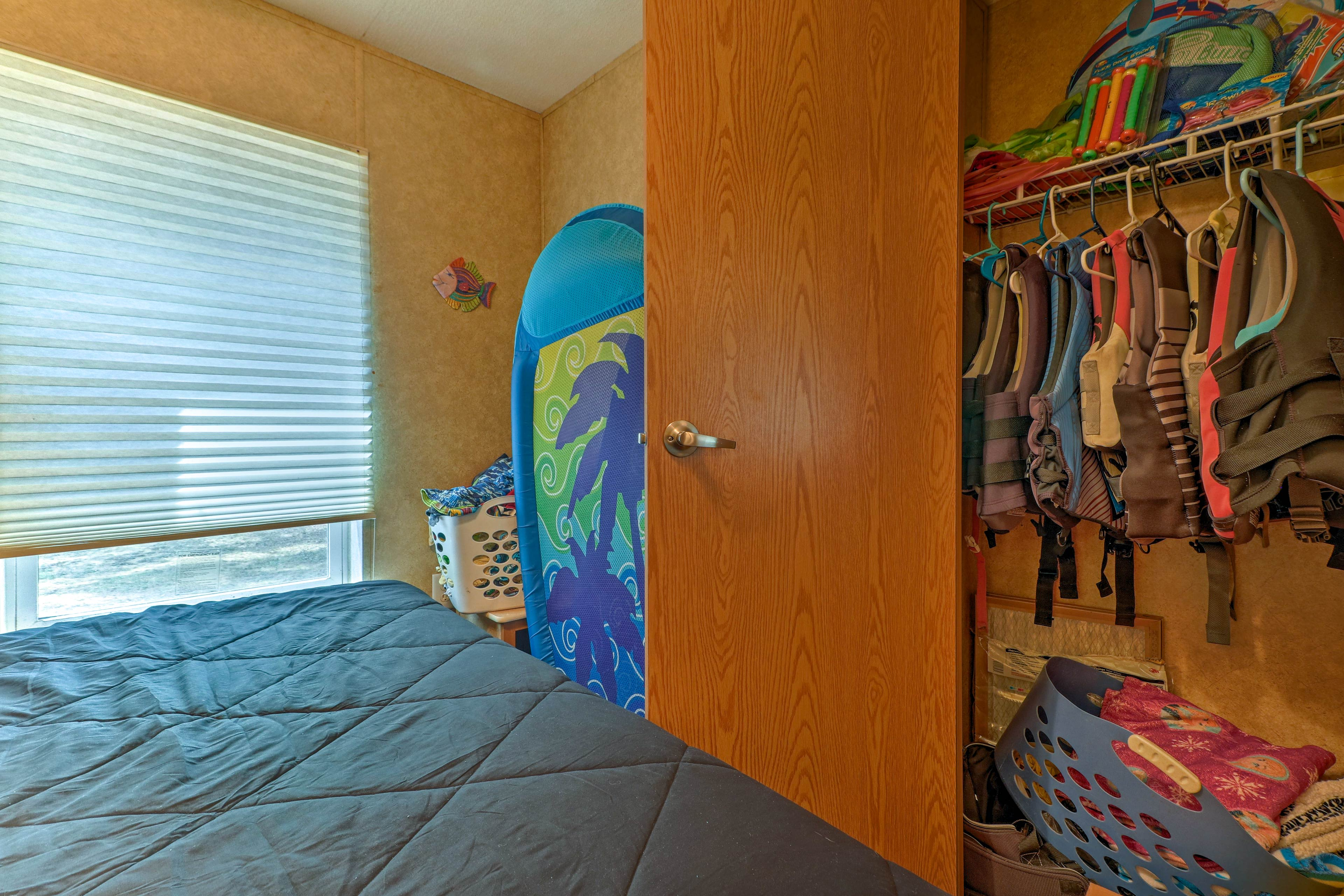 Open up the closet to reveal all of the lake equipment you'll need!