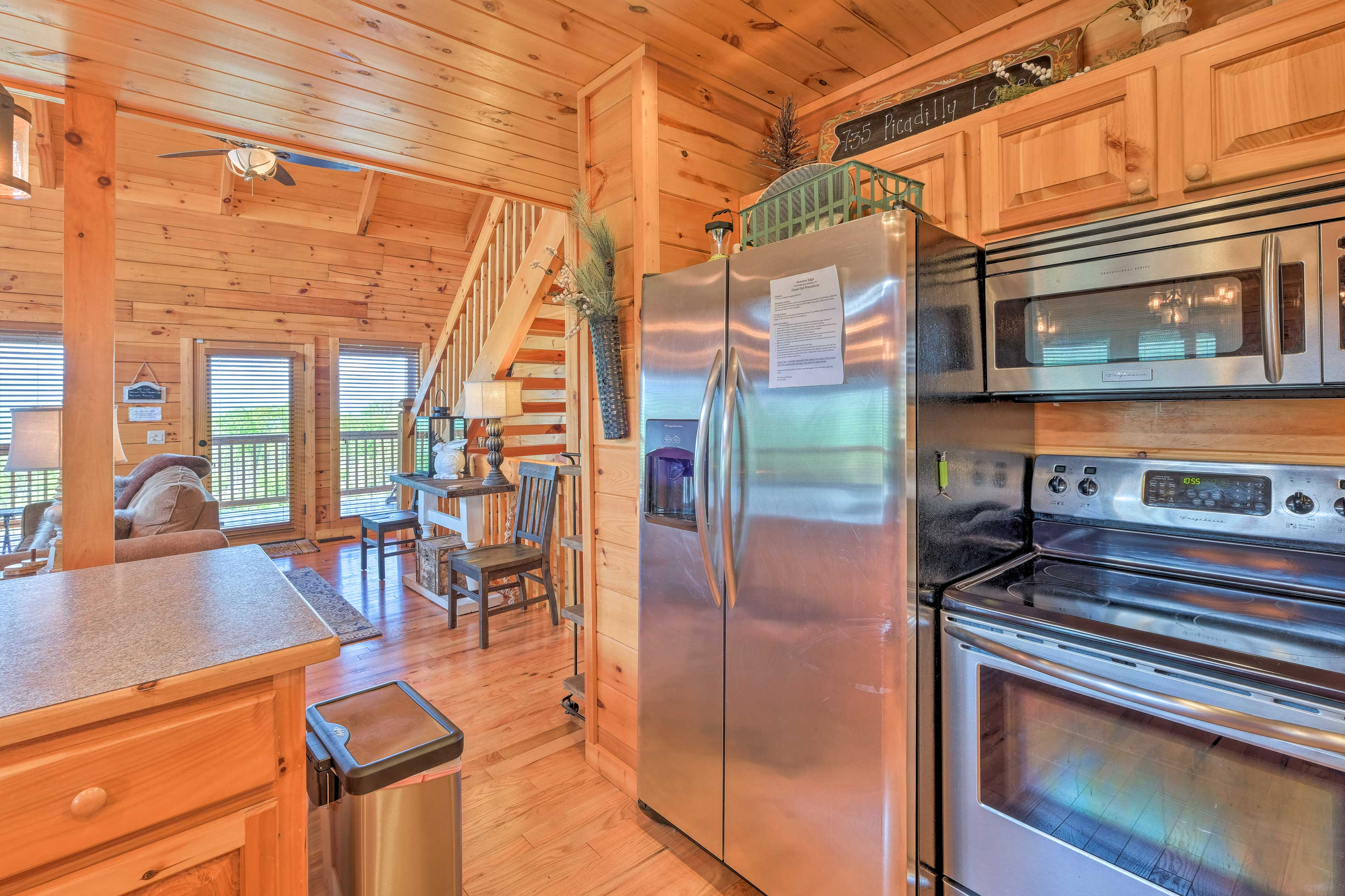Stainless steel appliances and plenty of counter space make meal prep a breeze.