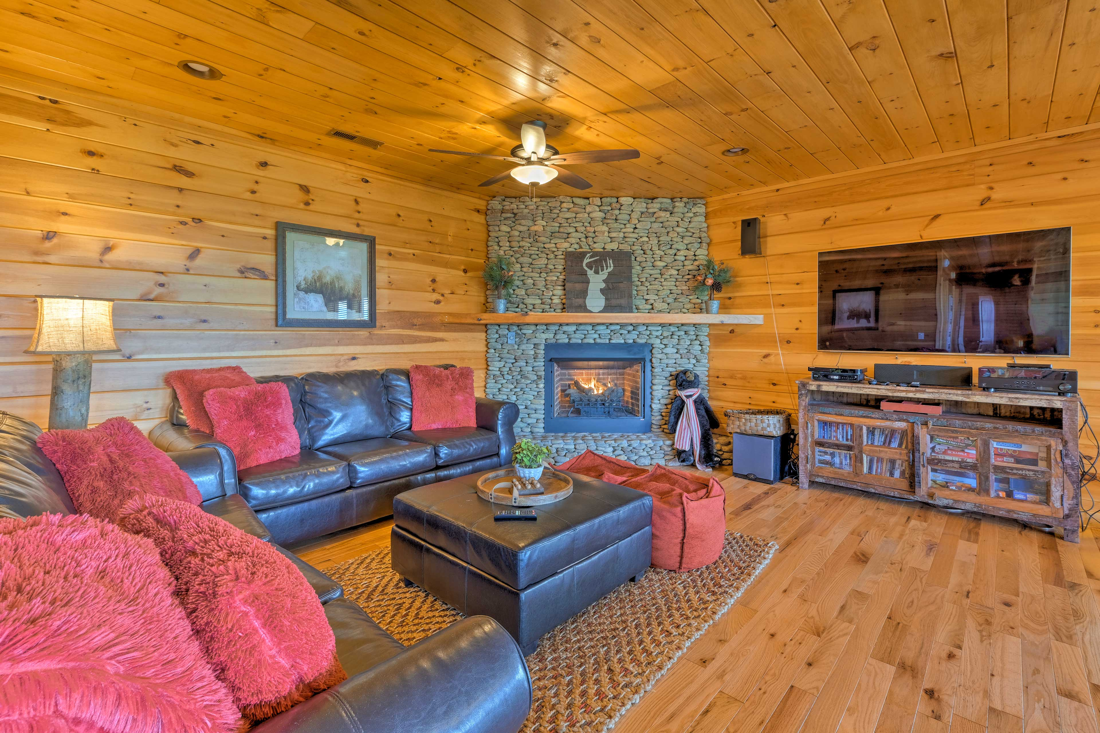 Get nice and toasty by the gas fireplace.