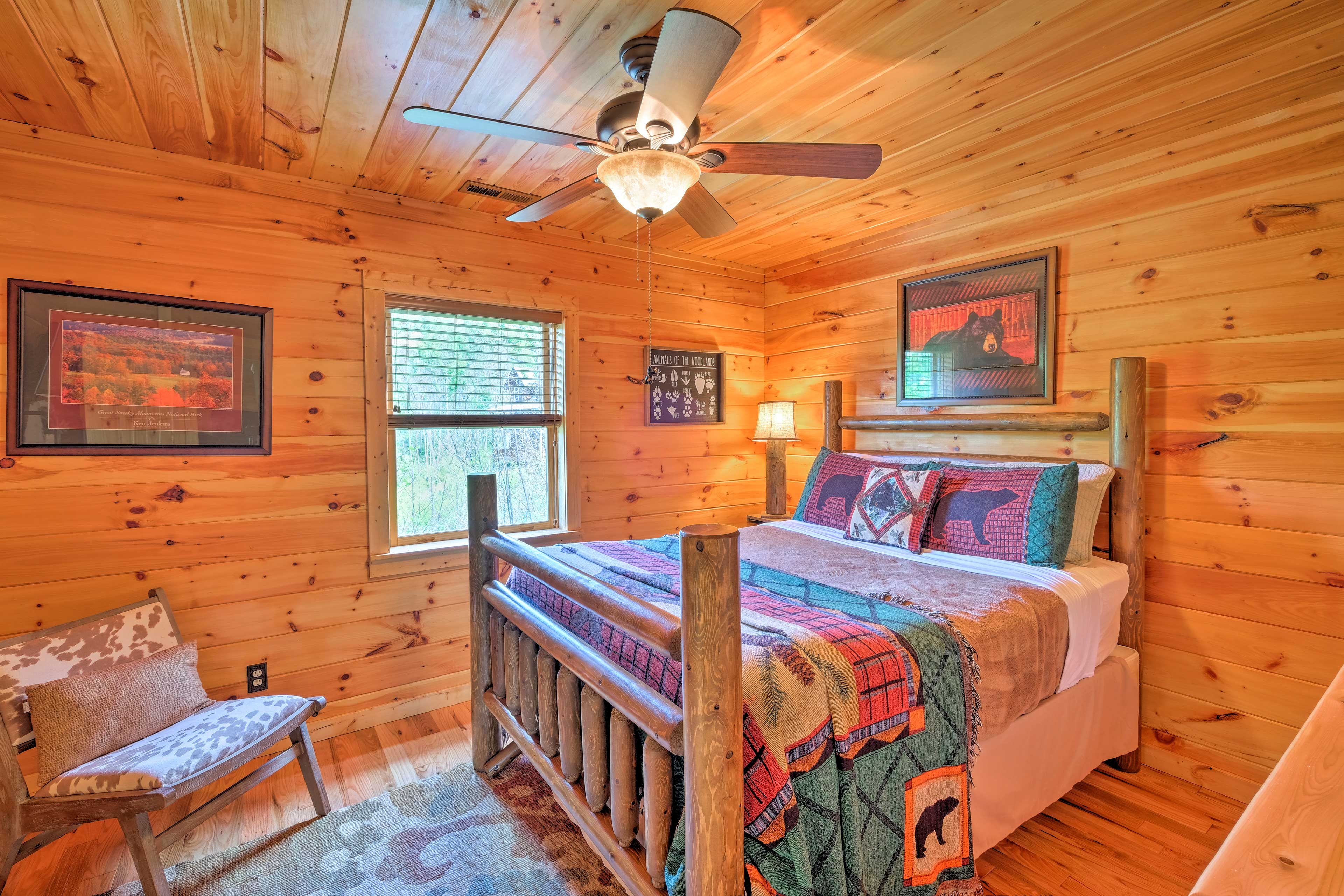 Two more guests can sleep in this queen bed.