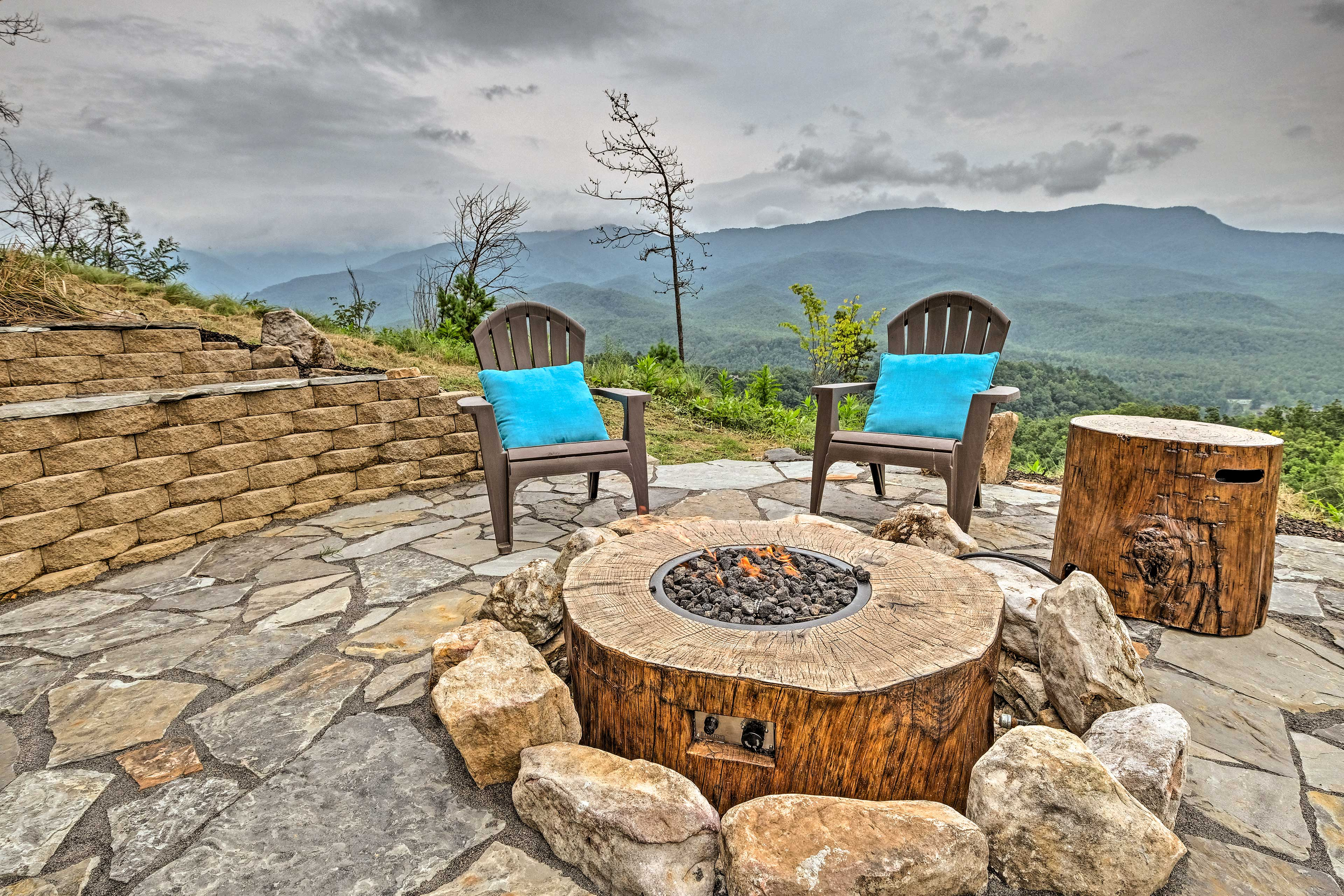 This rustic fire pit is both beautiful and useful.