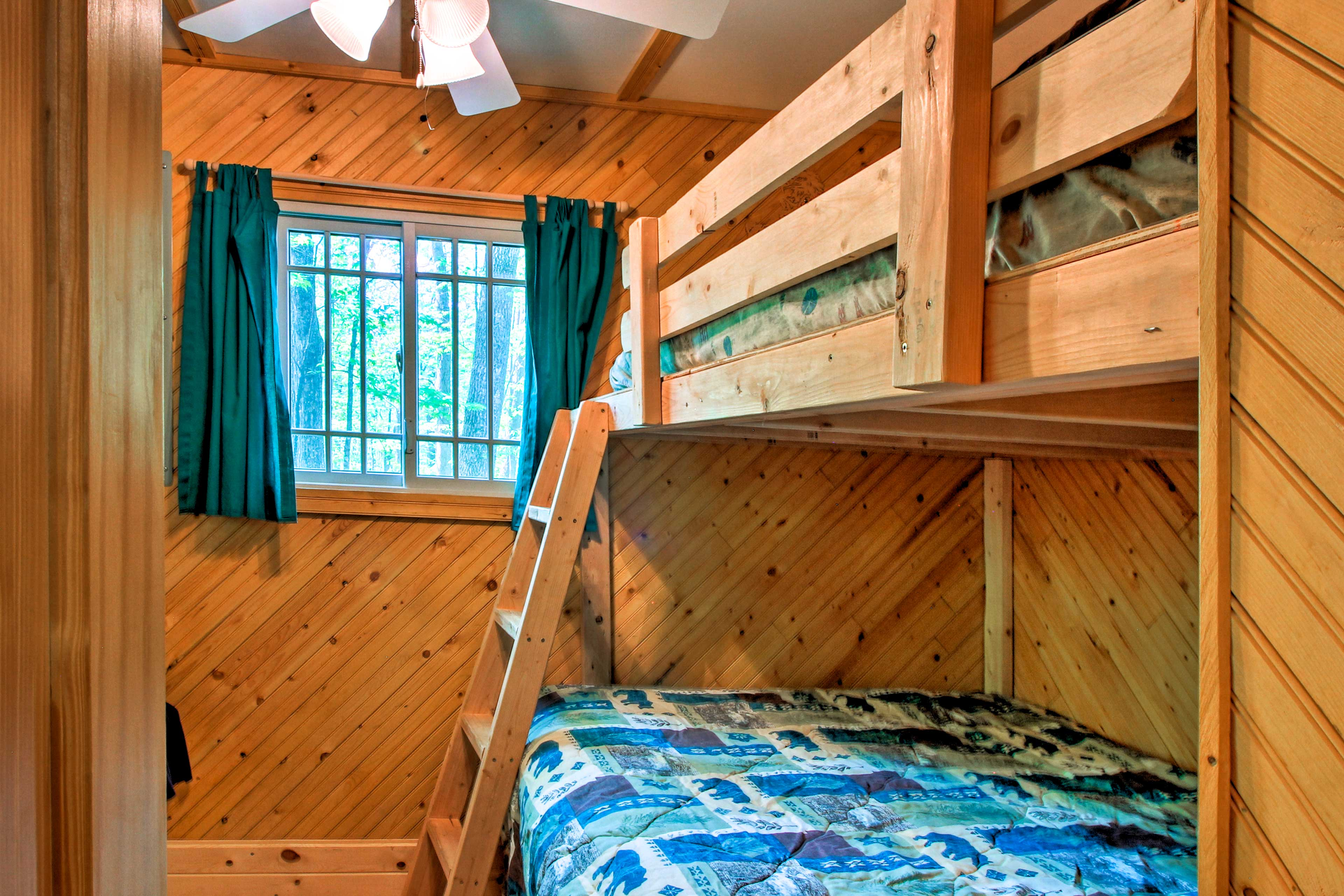 Perfect for kids, this room has a twin-over-full bunk.