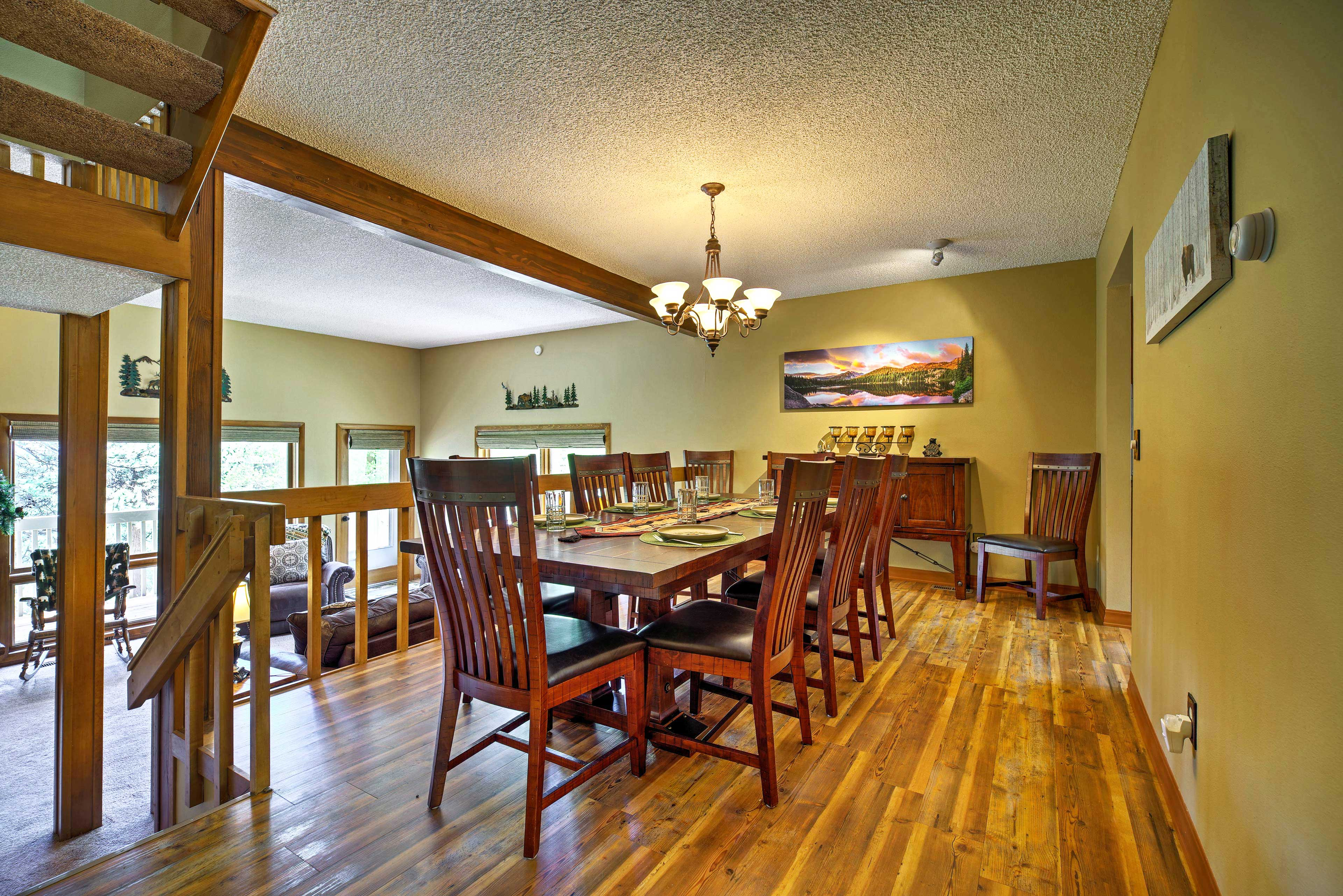The 10-person dining table is ideal for holiday meals.